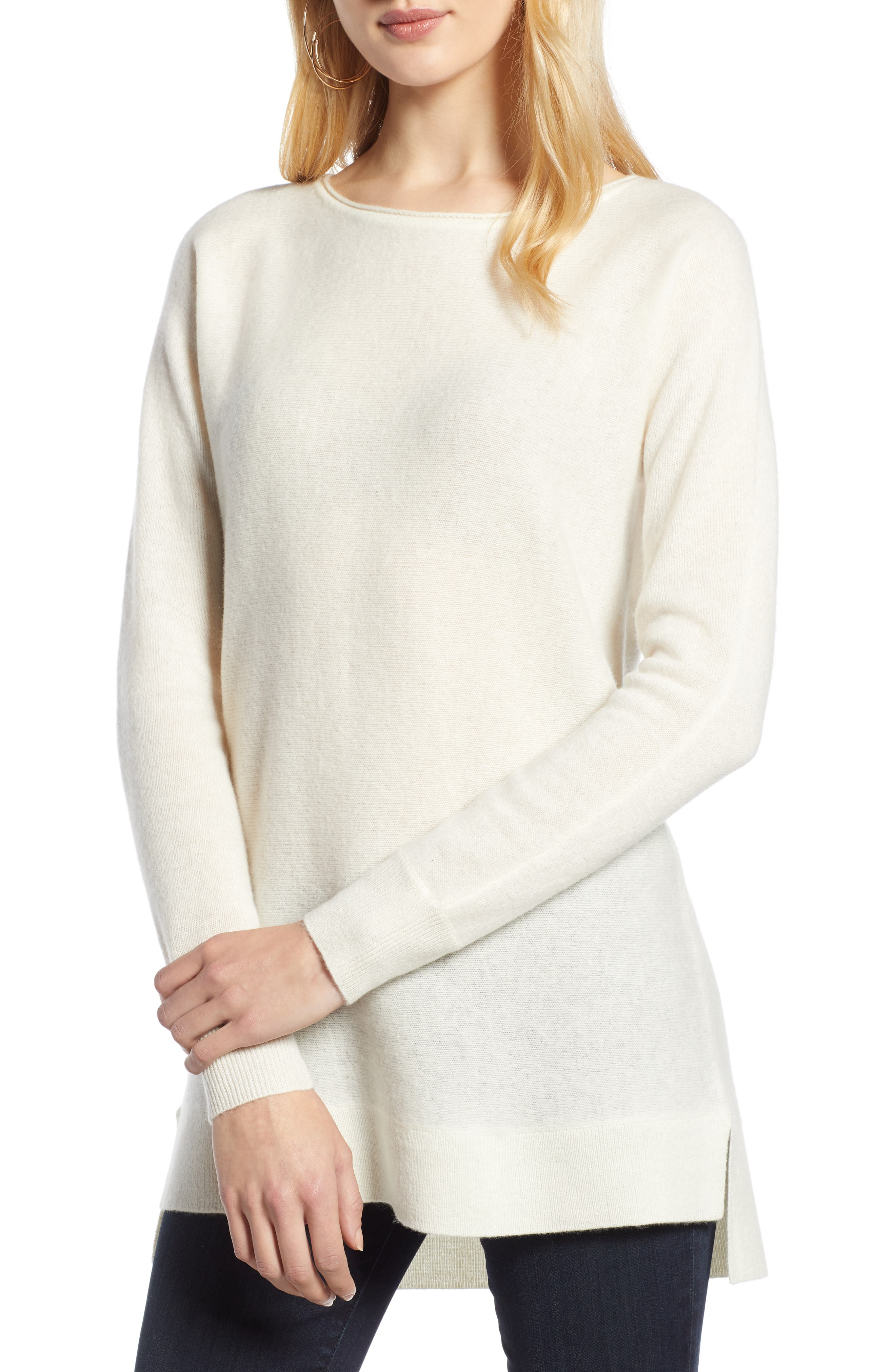 Halogen High/low Wool & Cashmere Tunic Sweater, Ivory