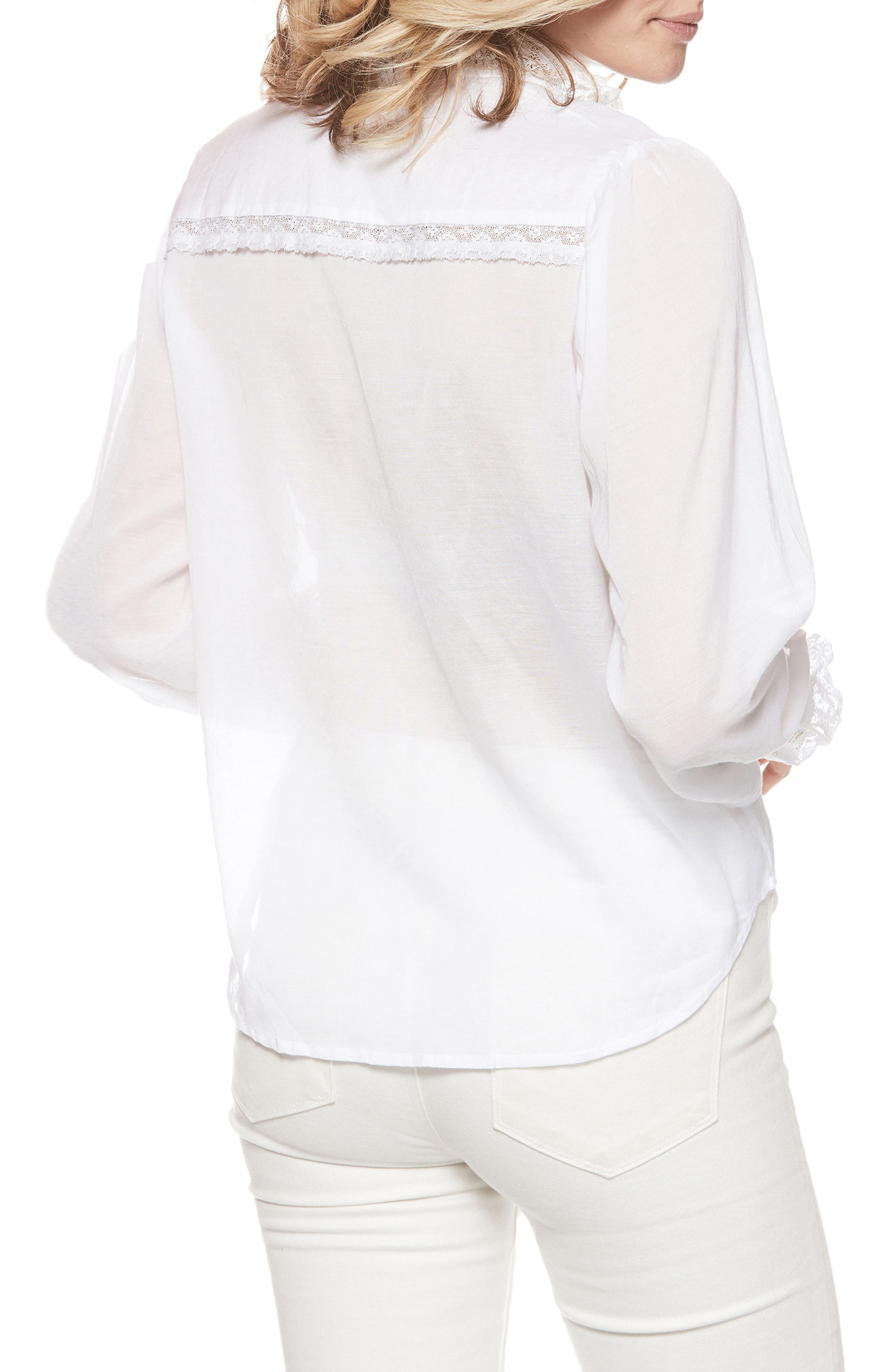 Alina Lace Trim Blouse,                             Alternate thumbnail 2, color,                             100
