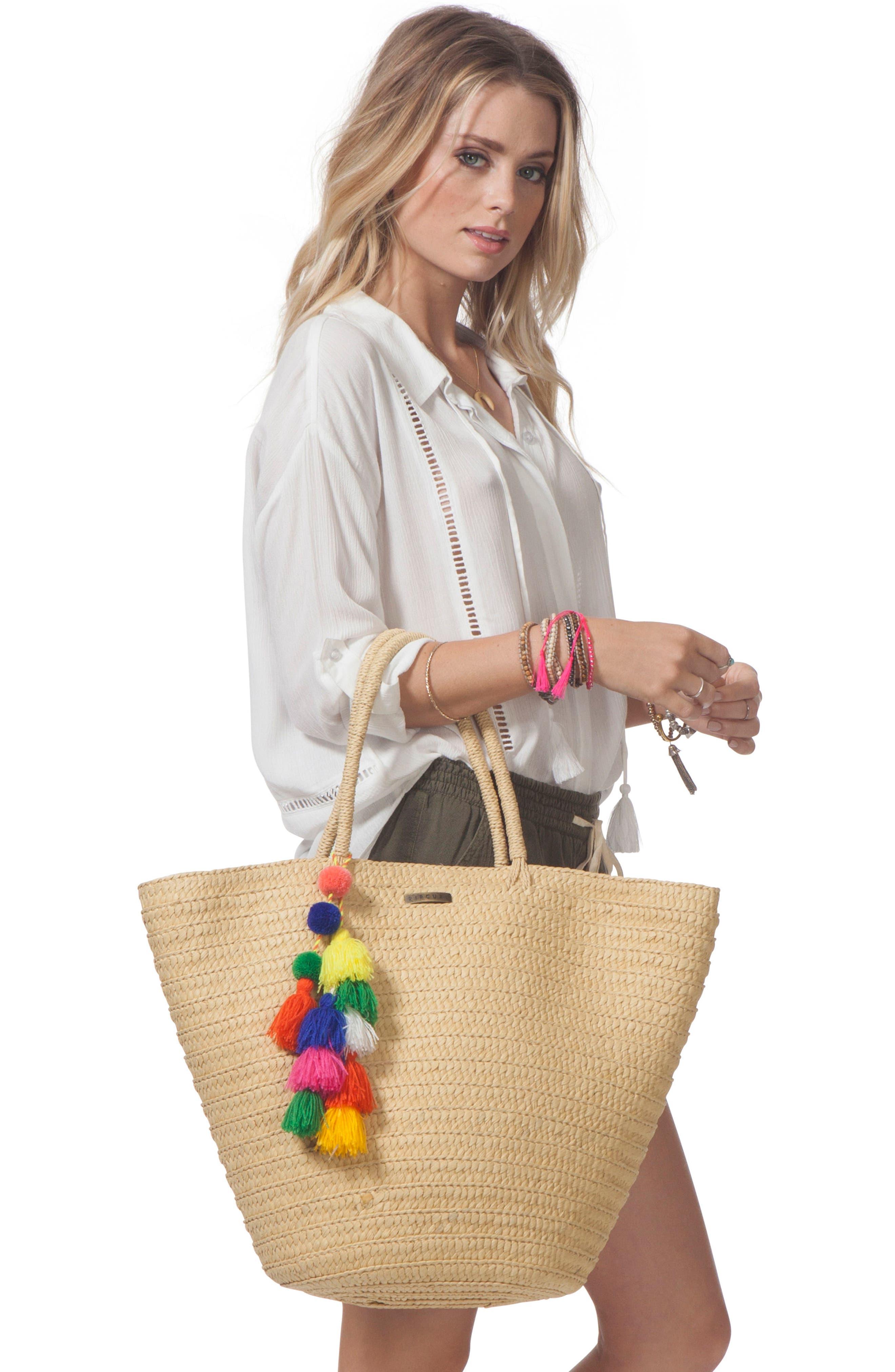Beach Bazaar Straw Bag,                             Alternate thumbnail 3, color,