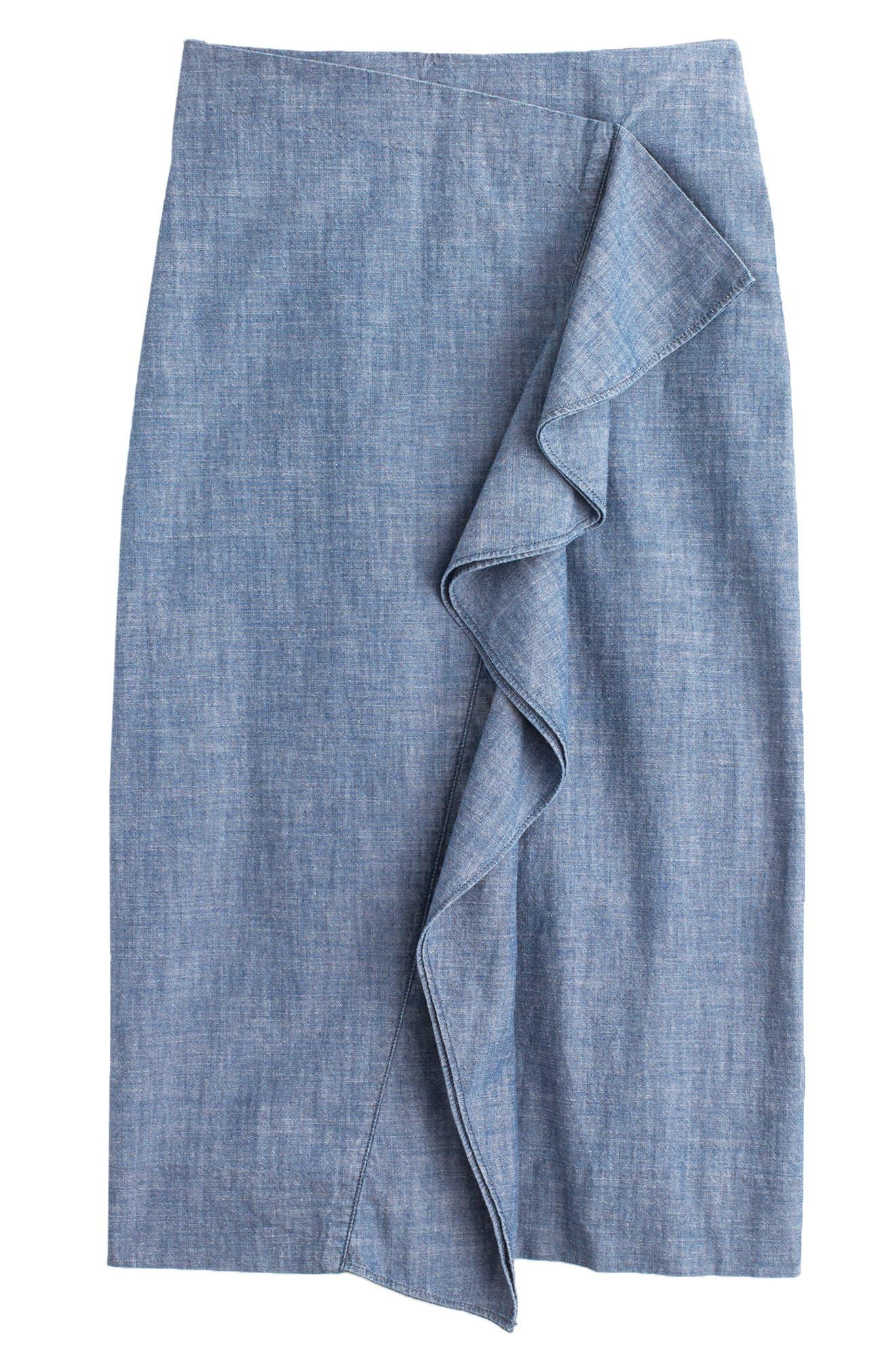 Chambray Ruffle Skirt,                             Alternate thumbnail 3, color,                             400