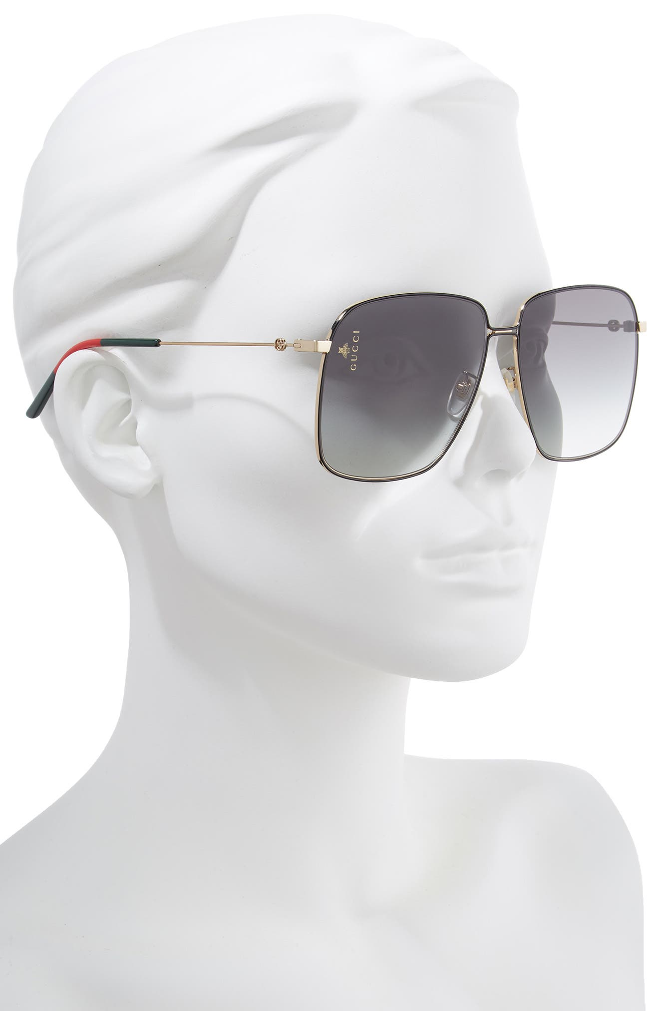 GUCCI,                             61mm Square Sunglasses,                             Alternate thumbnail 2, color,                             GOLD/GREEN/RED/GREY GRADIENT