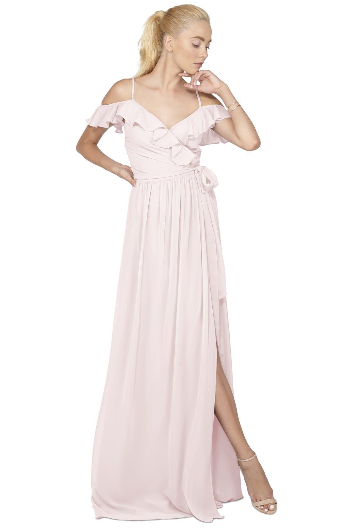 Portia Off the Shoulder Ruffle Wrap Chiffon Gown,                             Alternate thumbnail 8, color,
