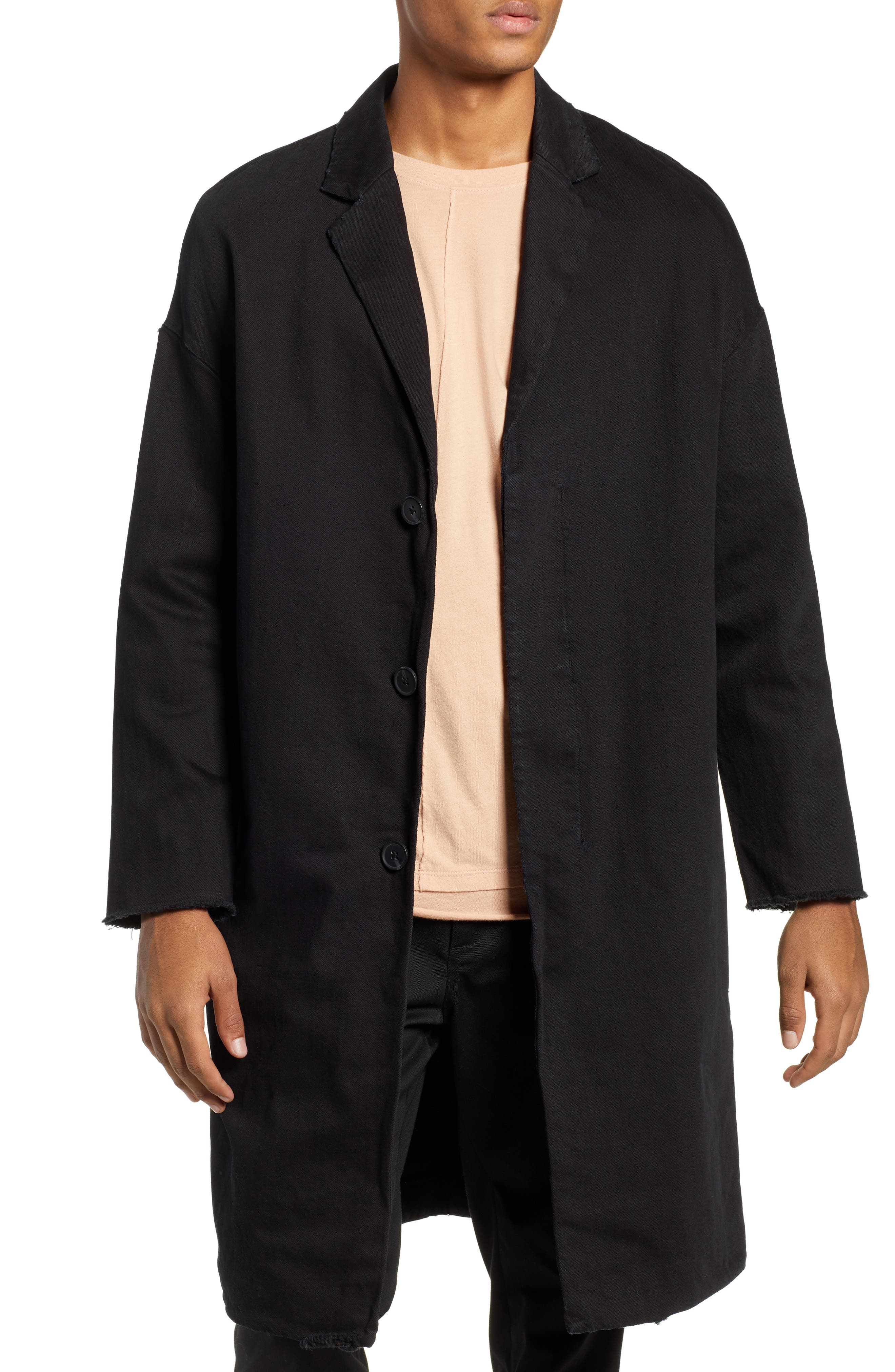 Relaxed Fit Long Denim Coat,                             Main thumbnail 1, color,                             BLACK INDIGO