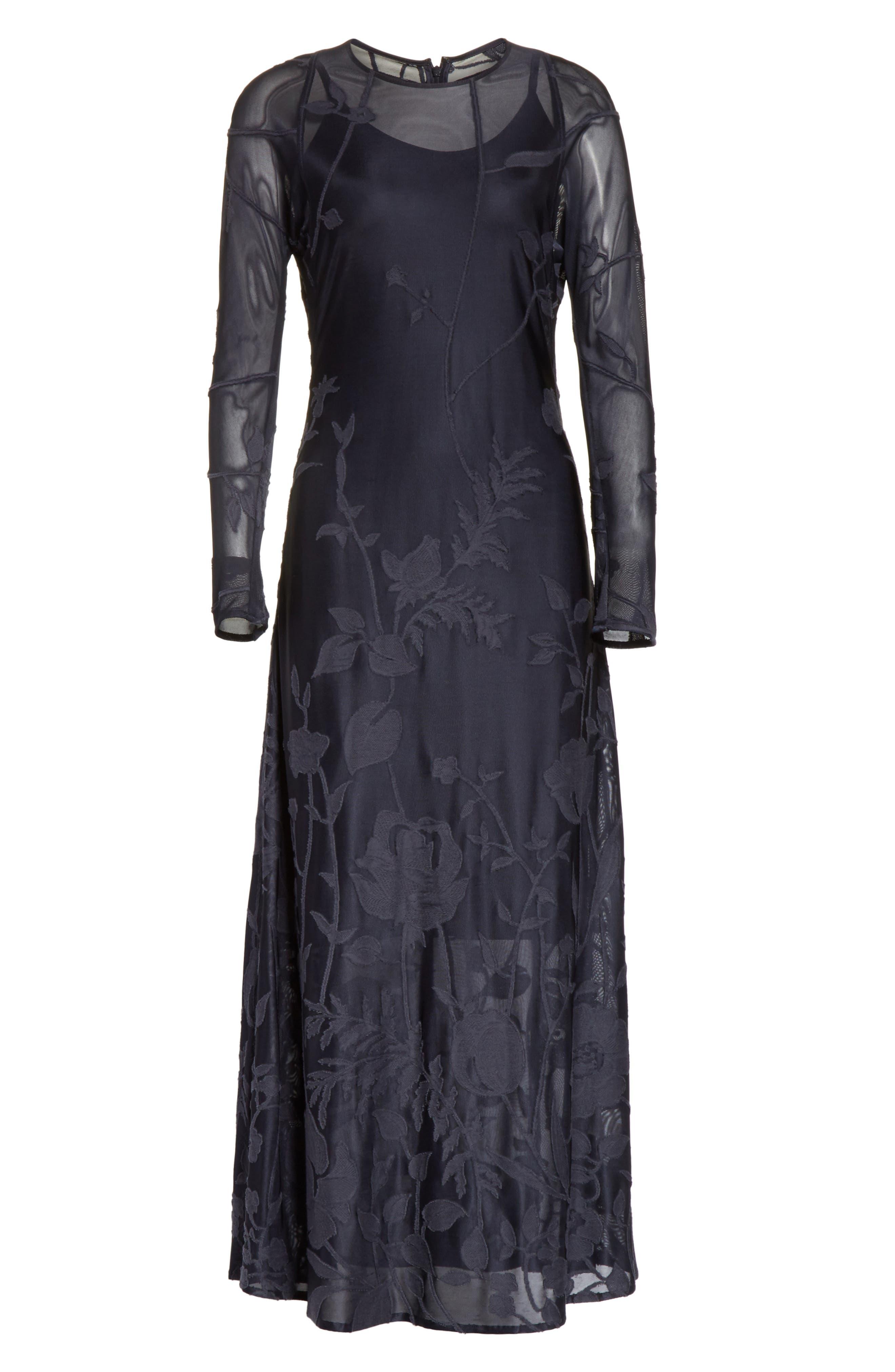 Ivonna Sheer Fil Coupé Midi Dress,                             Alternate thumbnail 6, color,                             479