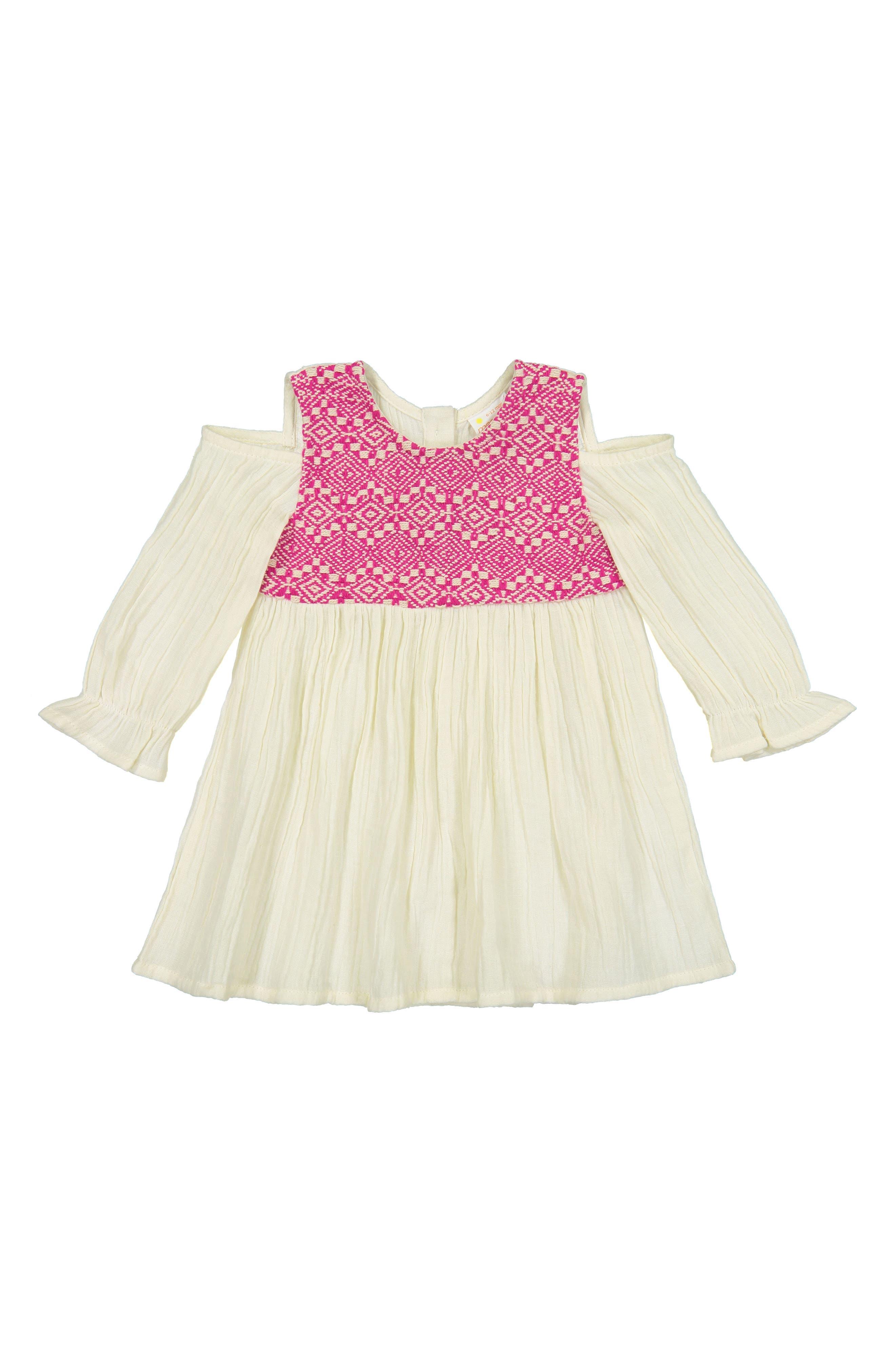 Layla Jacquard Cold Shoulder Dress,                         Main,                         color, PINK