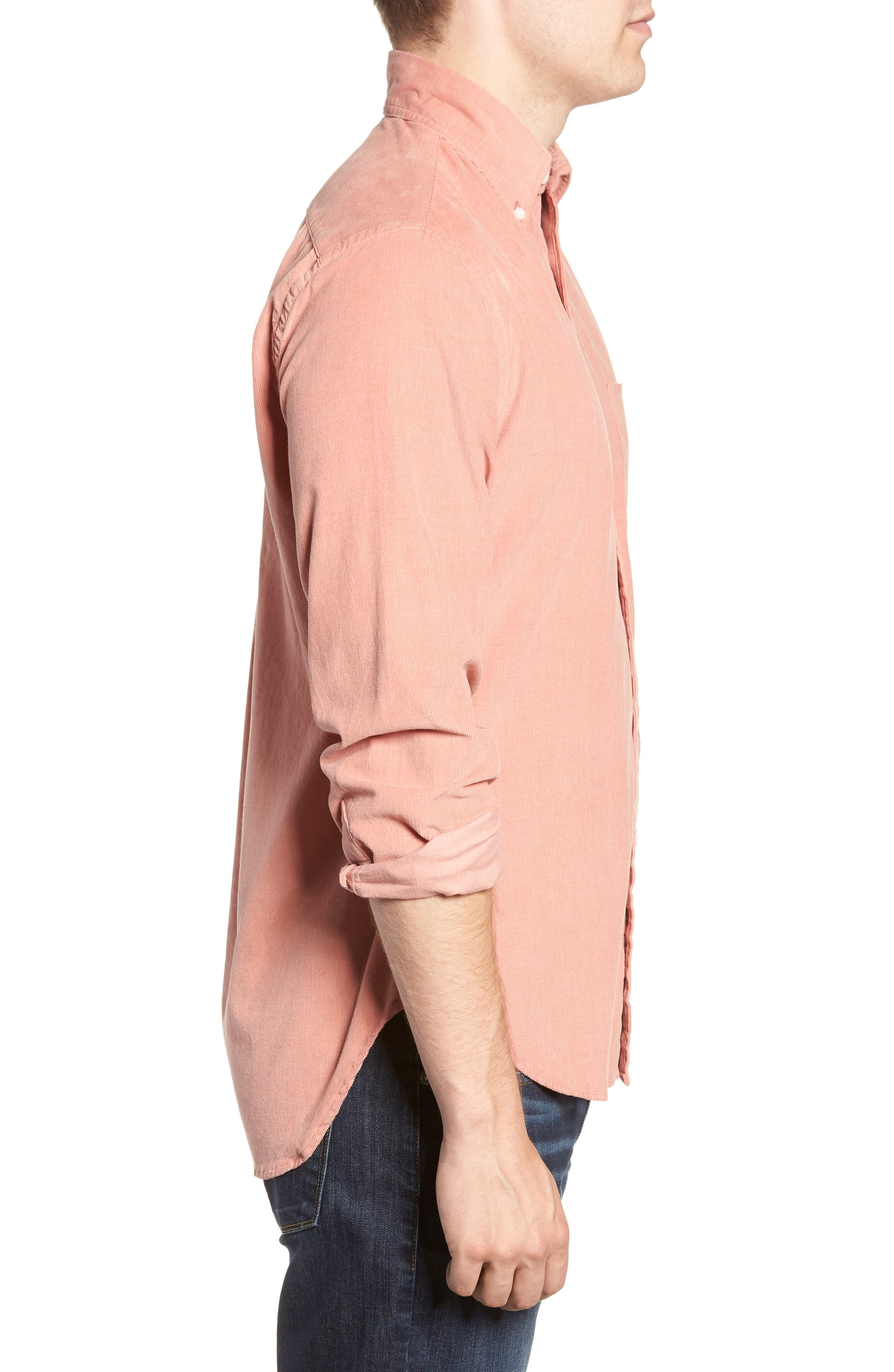 Regular Fit Corduroy Shirt,                             Alternate thumbnail 4, color,                             PINK