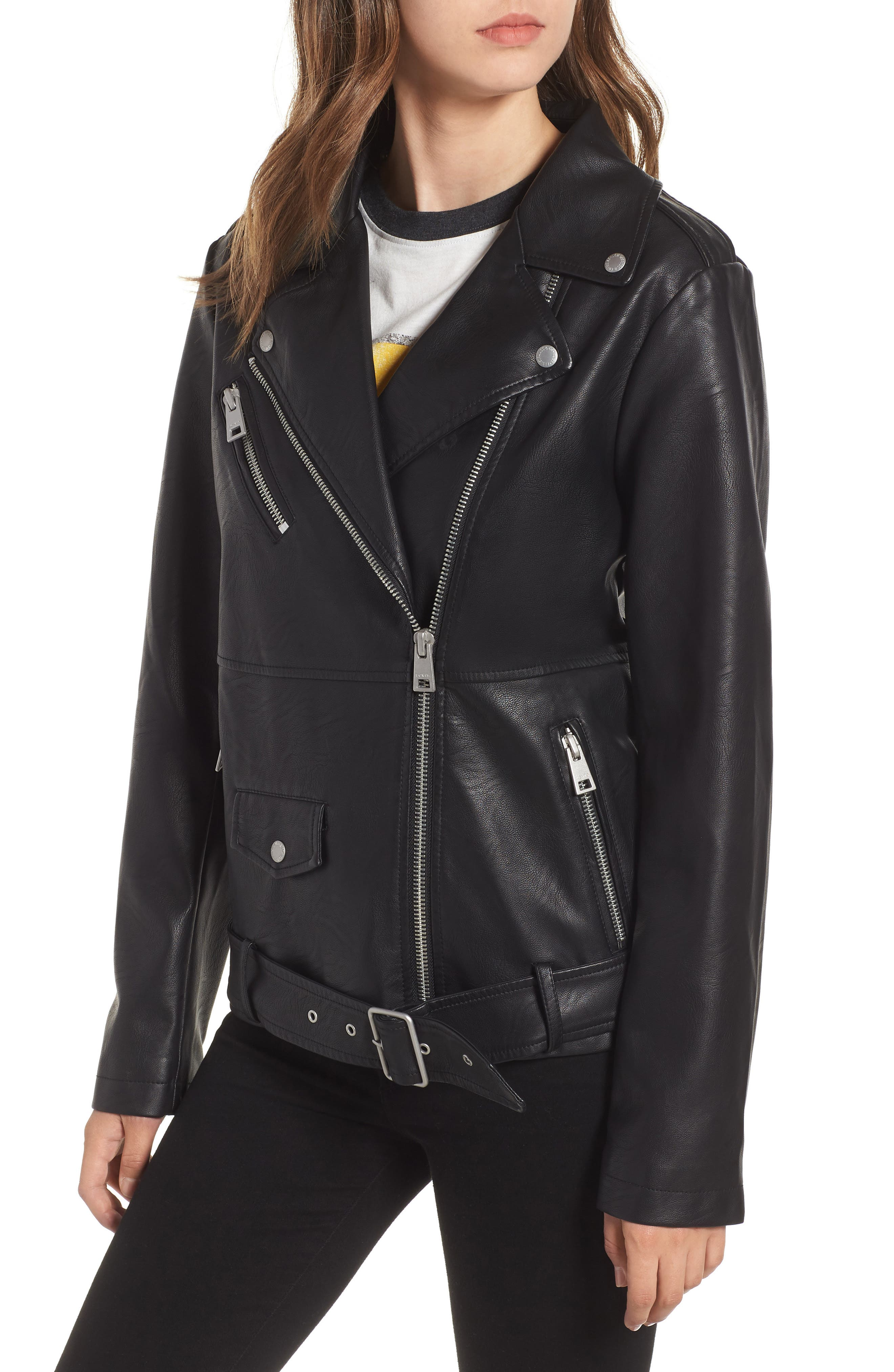 Fleece Hood Oversized Faux Leather Moto Jacket,                             Alternate thumbnail 4, color,                             BLACK