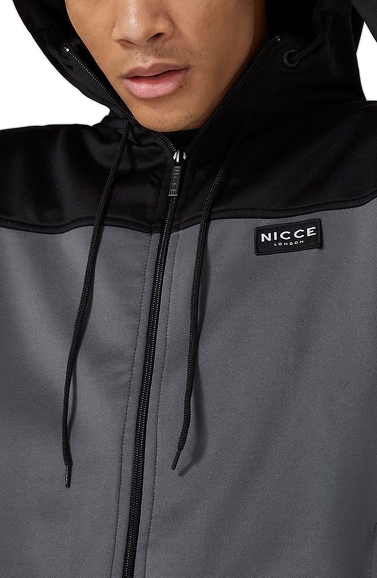 Topshop NICCE Hybrid Track Jacket,                             Alternate thumbnail 3, color,                             BLACK MULTI