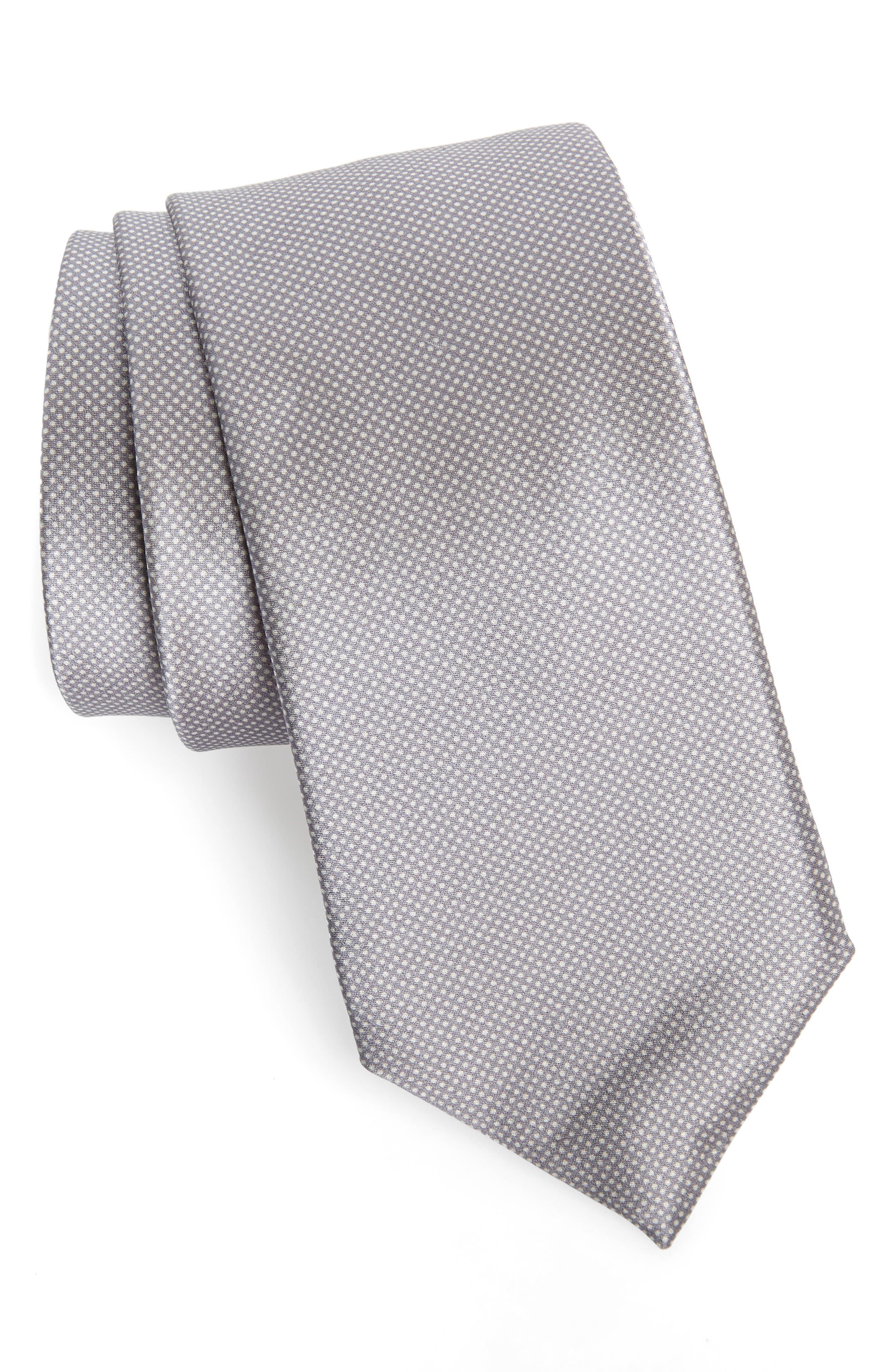 Spots Silk Tie,                         Main,                         color, SILVER