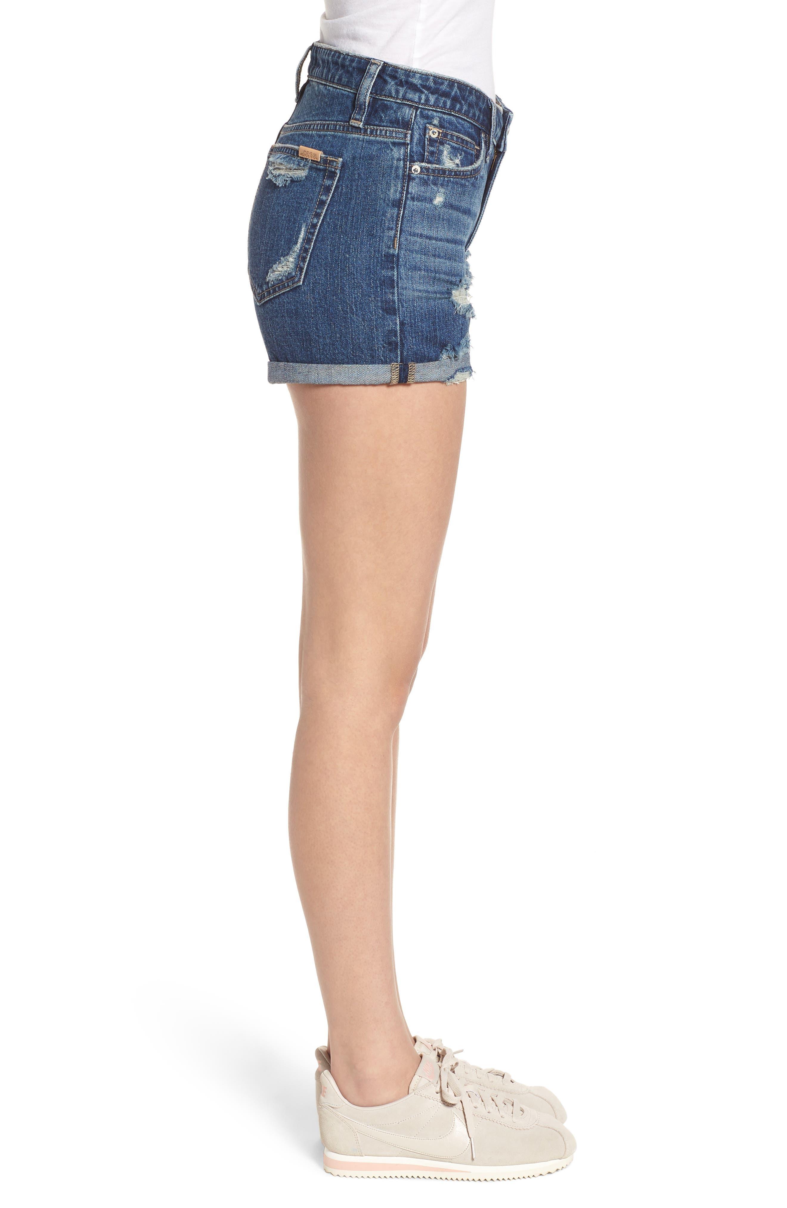 The Ozzie Roll Cuff Denim Shorts,                             Alternate thumbnail 3, color,                             450