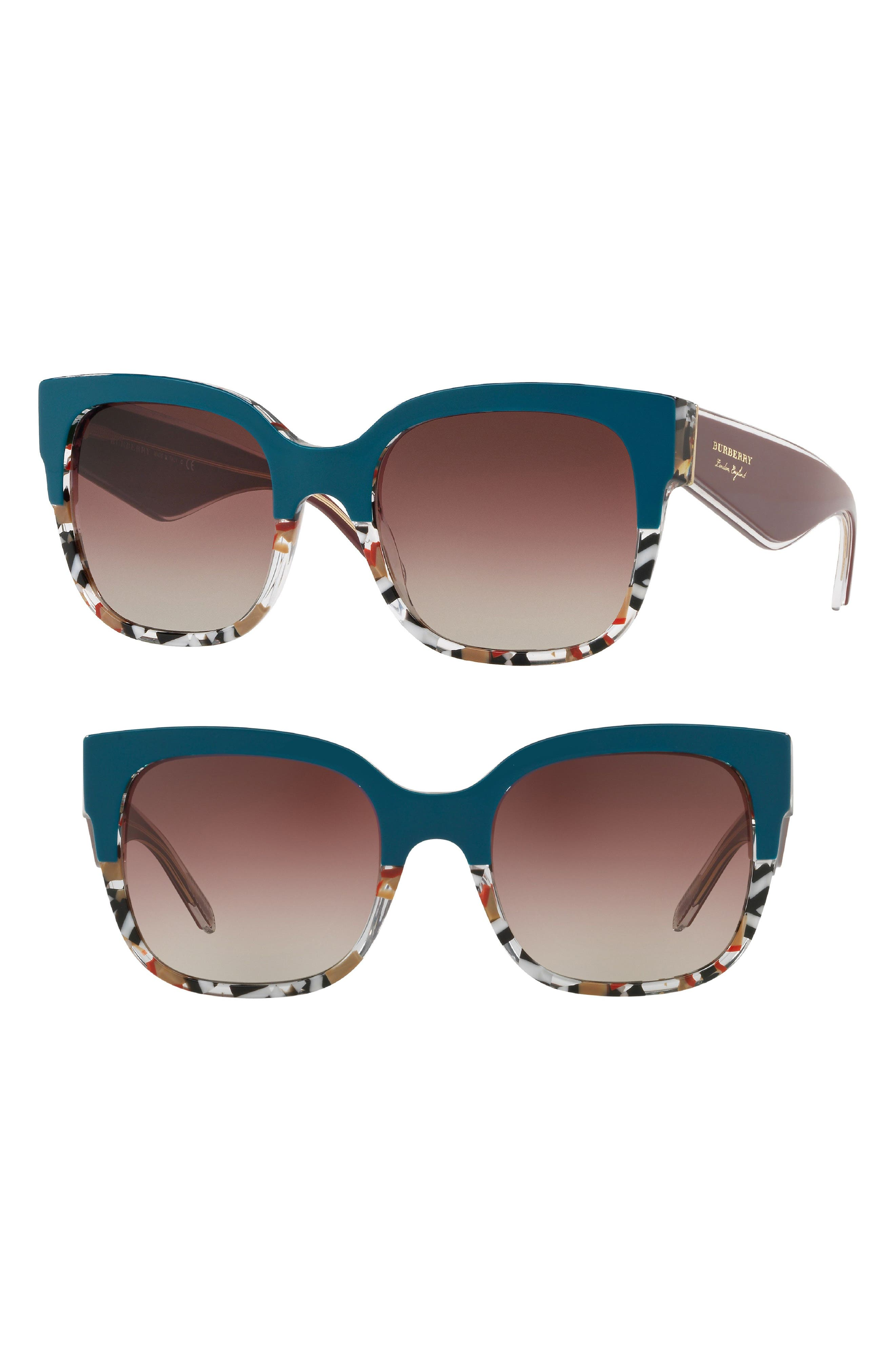 56mm Cat Eye Sunglasses,                             Main thumbnail 1, color,                             DARK GREEN GRADIENT