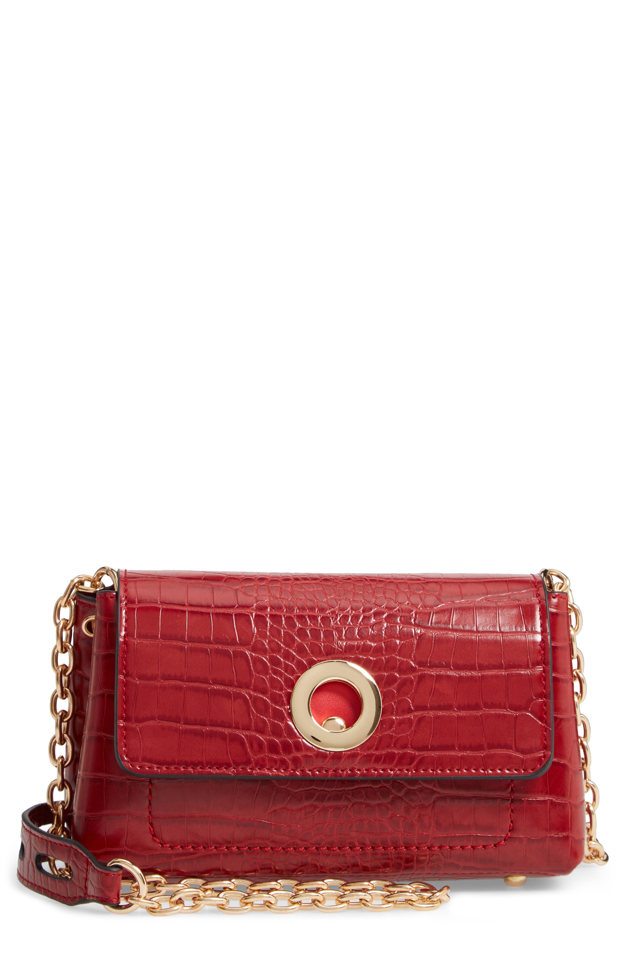SONDRA ROBERTS Croc Embossed Faux Leather Crossbody Bag - Red