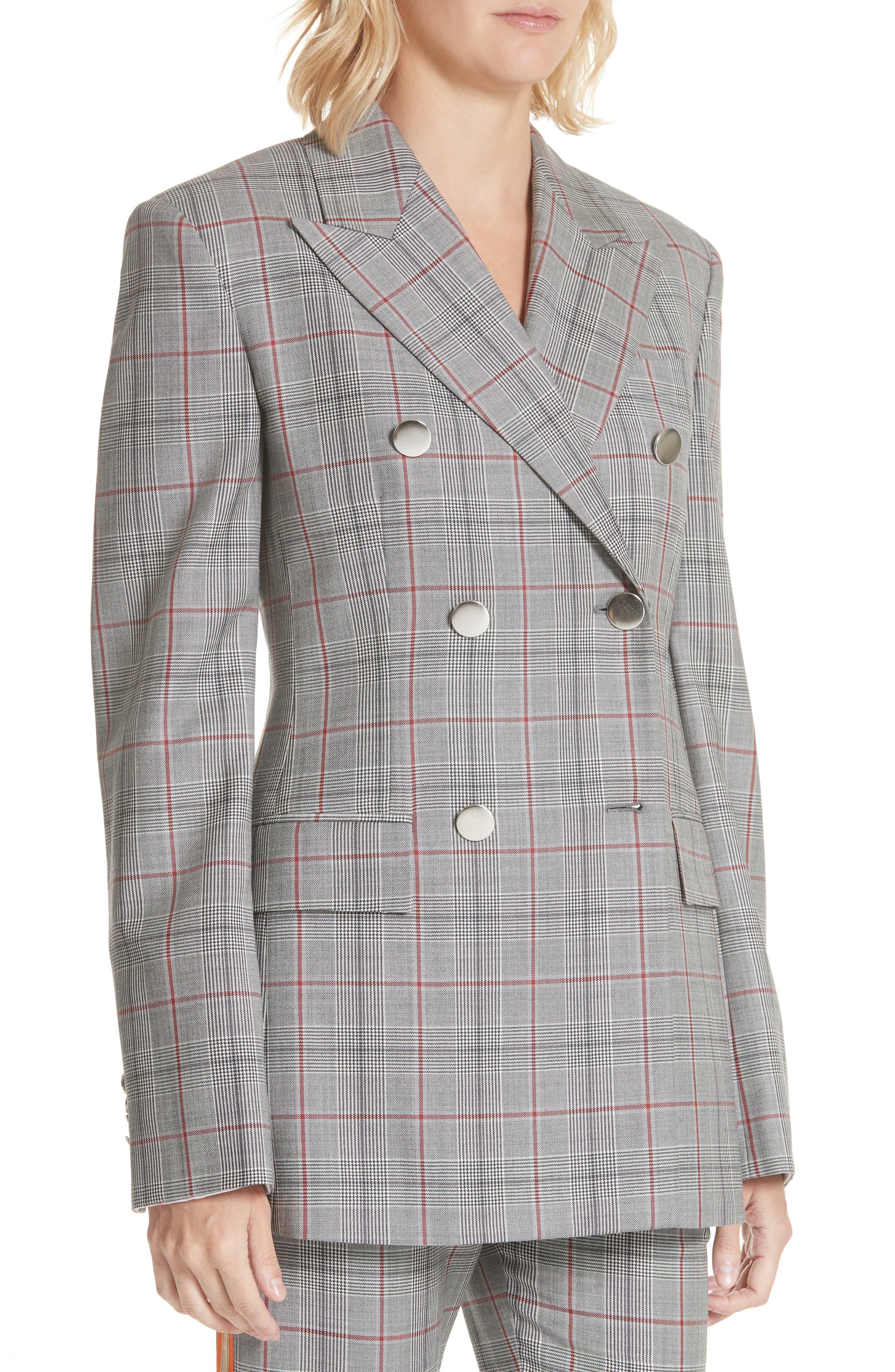 Plaid Wool Jacket,                             Alternate thumbnail 4, color,                             BLACK WHITE GRENADINE