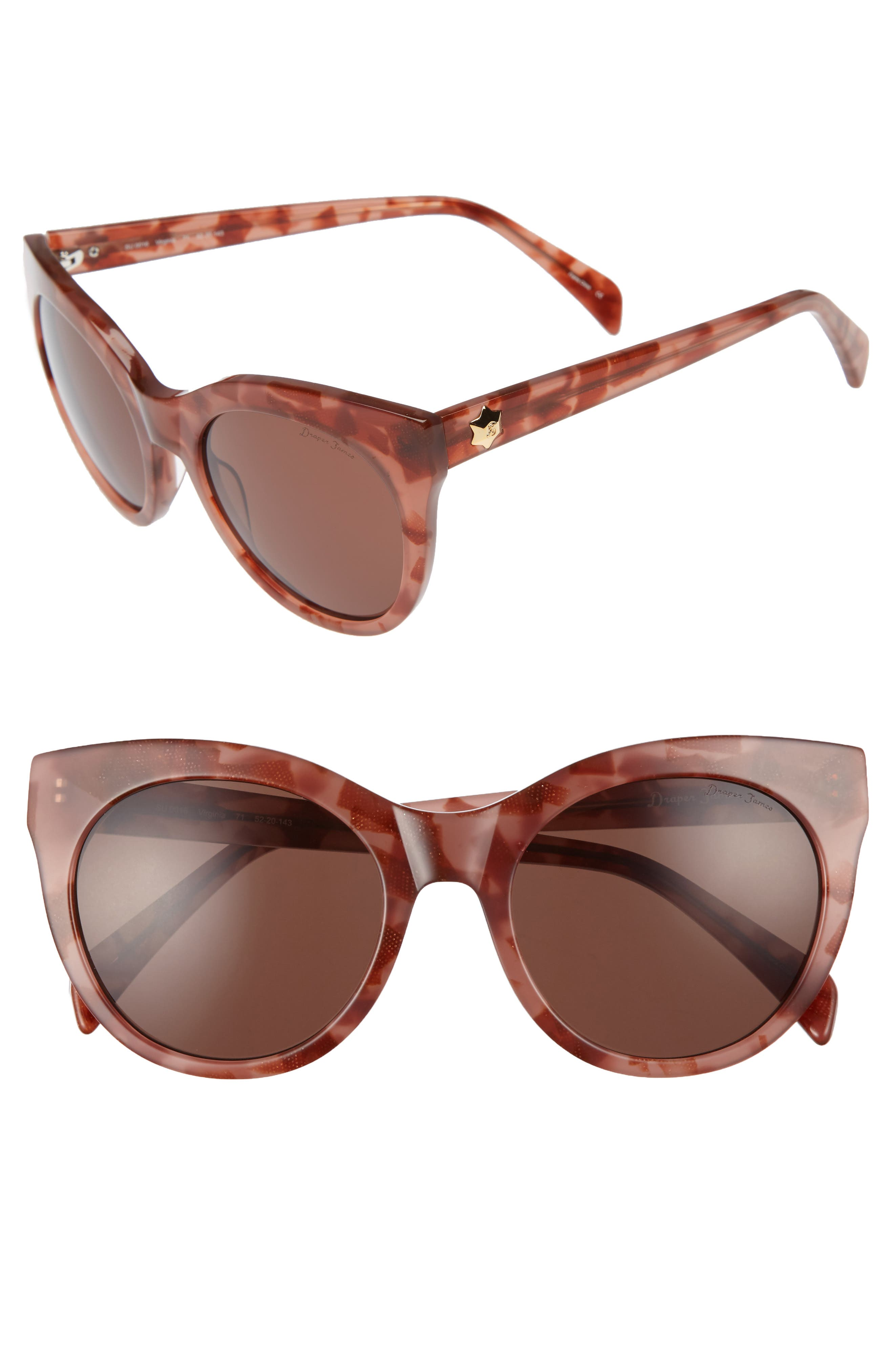 52mm Round Cat Eye Sunglasses,                             Main thumbnail 4, color,