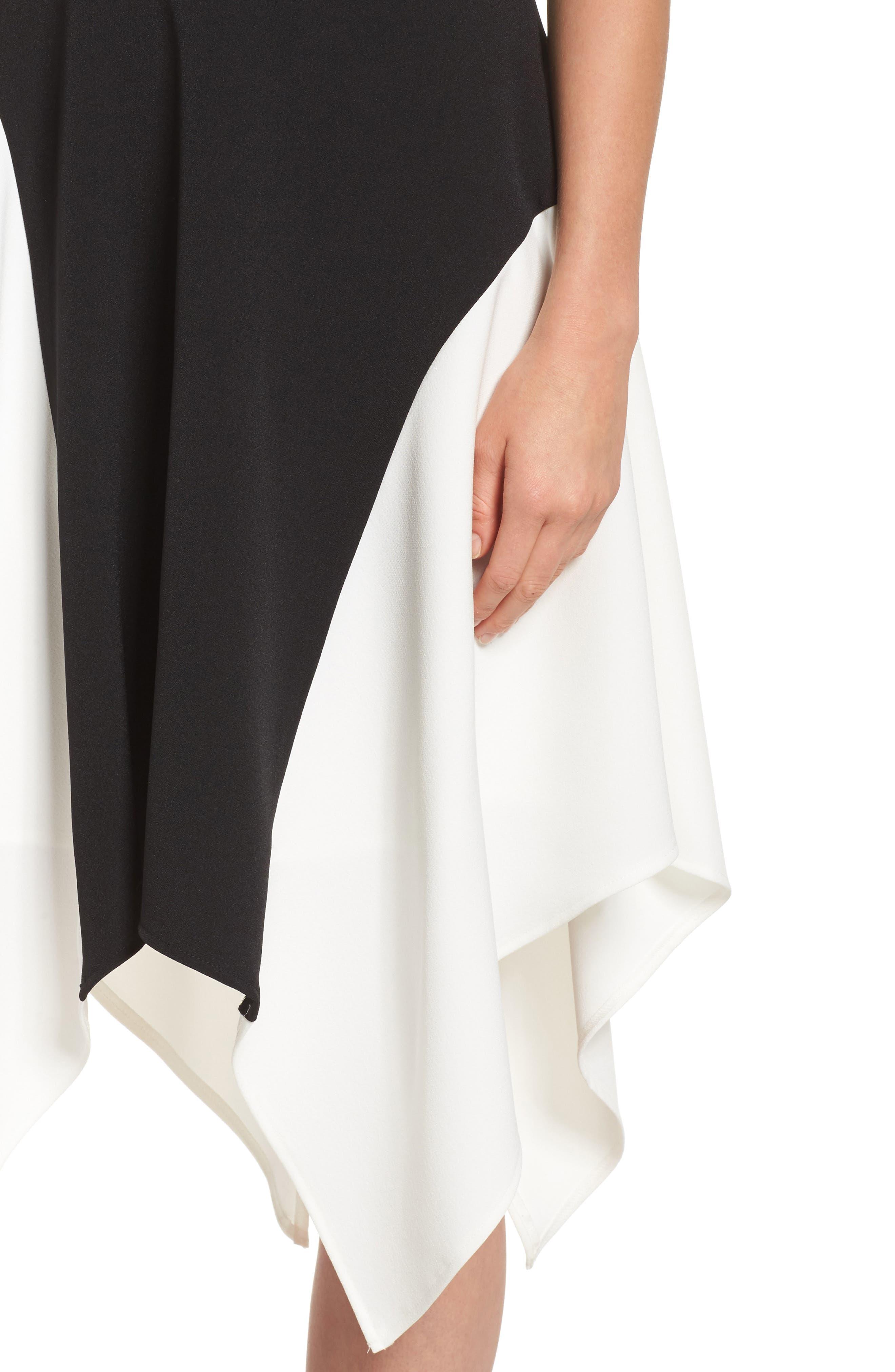 Colorblock Crepe Midi Dress,                             Alternate thumbnail 4, color,                             012