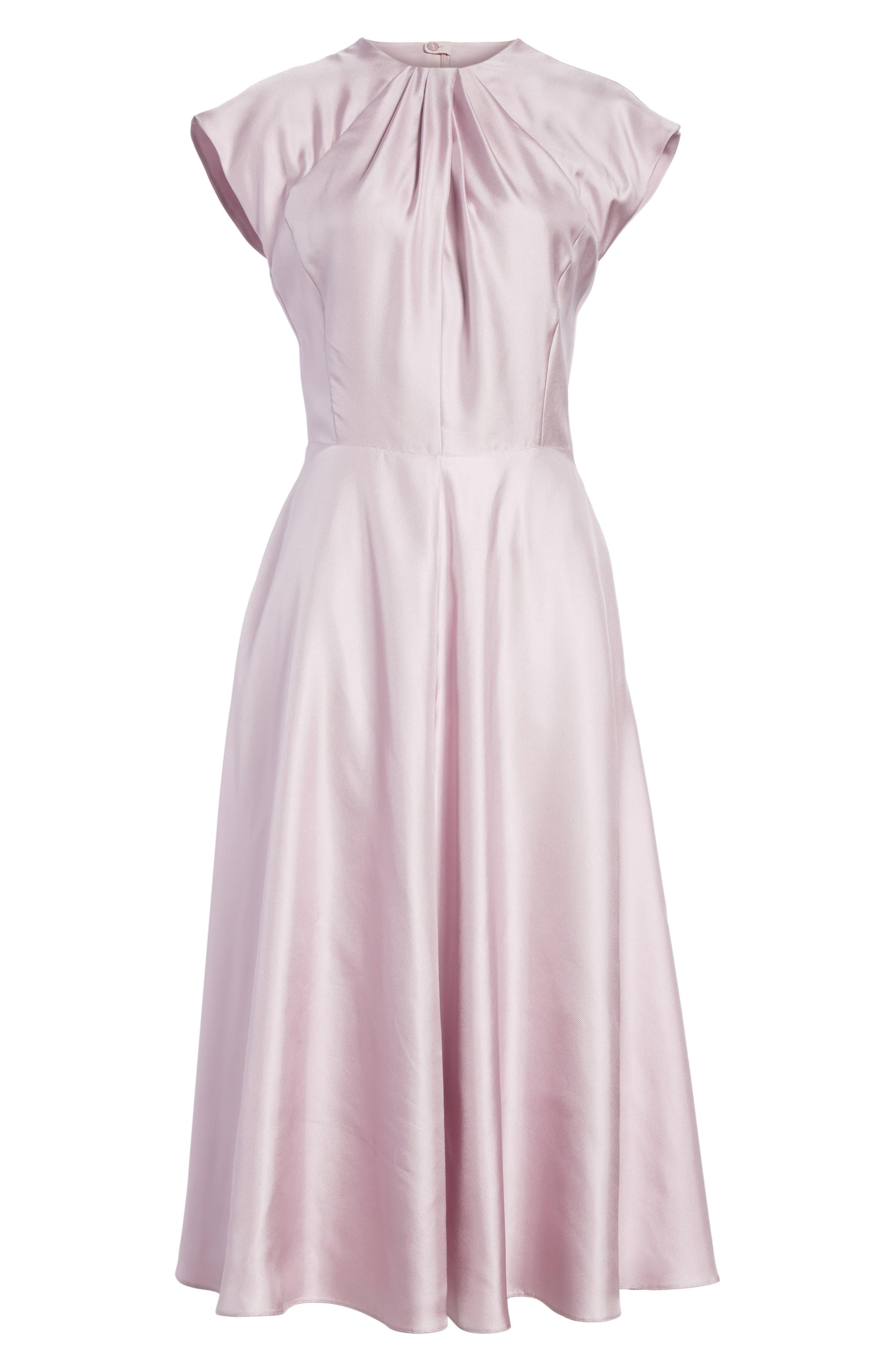 Gather Neck Silk A-Line Dress,                             Alternate thumbnail 6, color,                             664