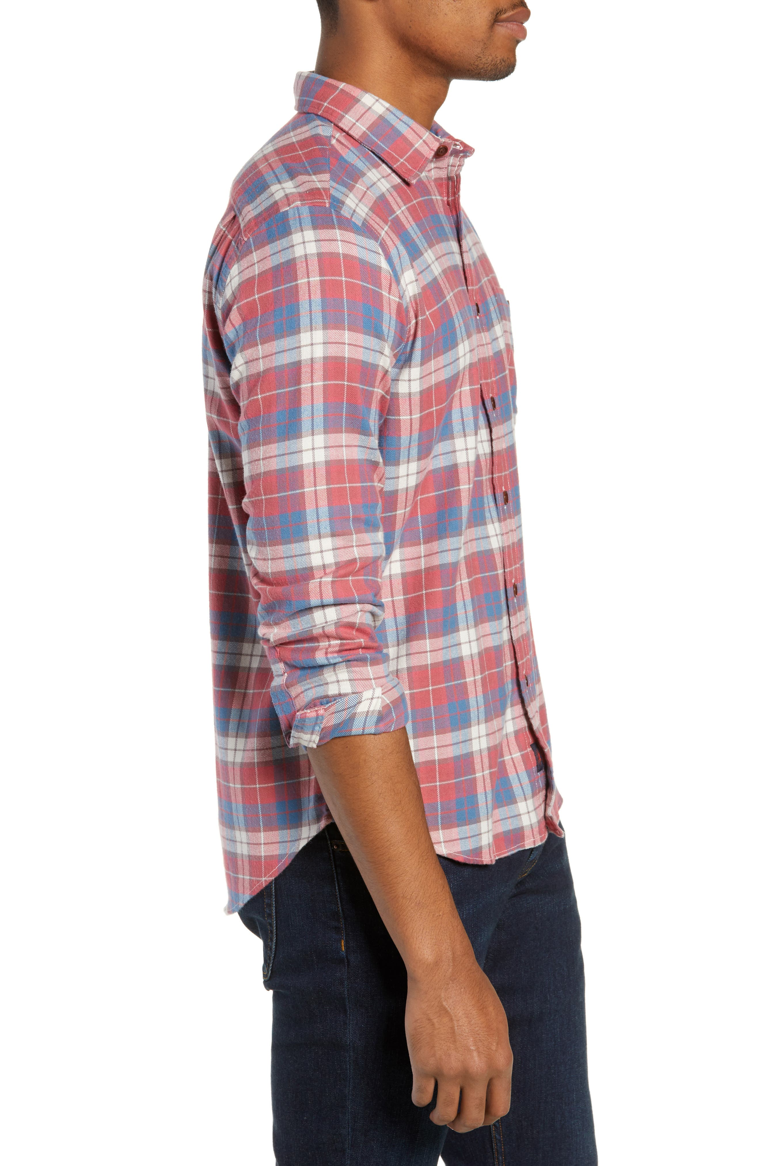 Seaview Stretch Flannel Shirt,                             Alternate thumbnail 4, color,                             RED HORIZON BLUE