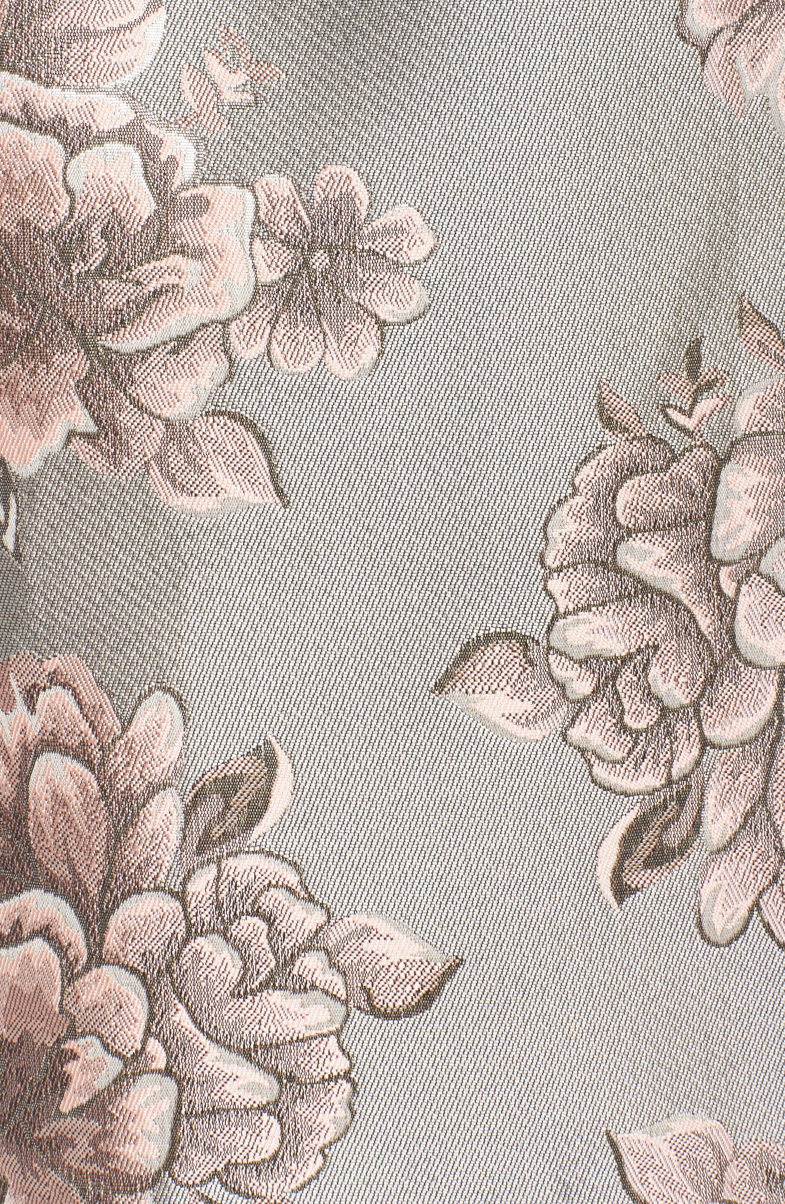 Metallic Floral Fit & Flare Dress,                             Alternate thumbnail 5, color,                             041