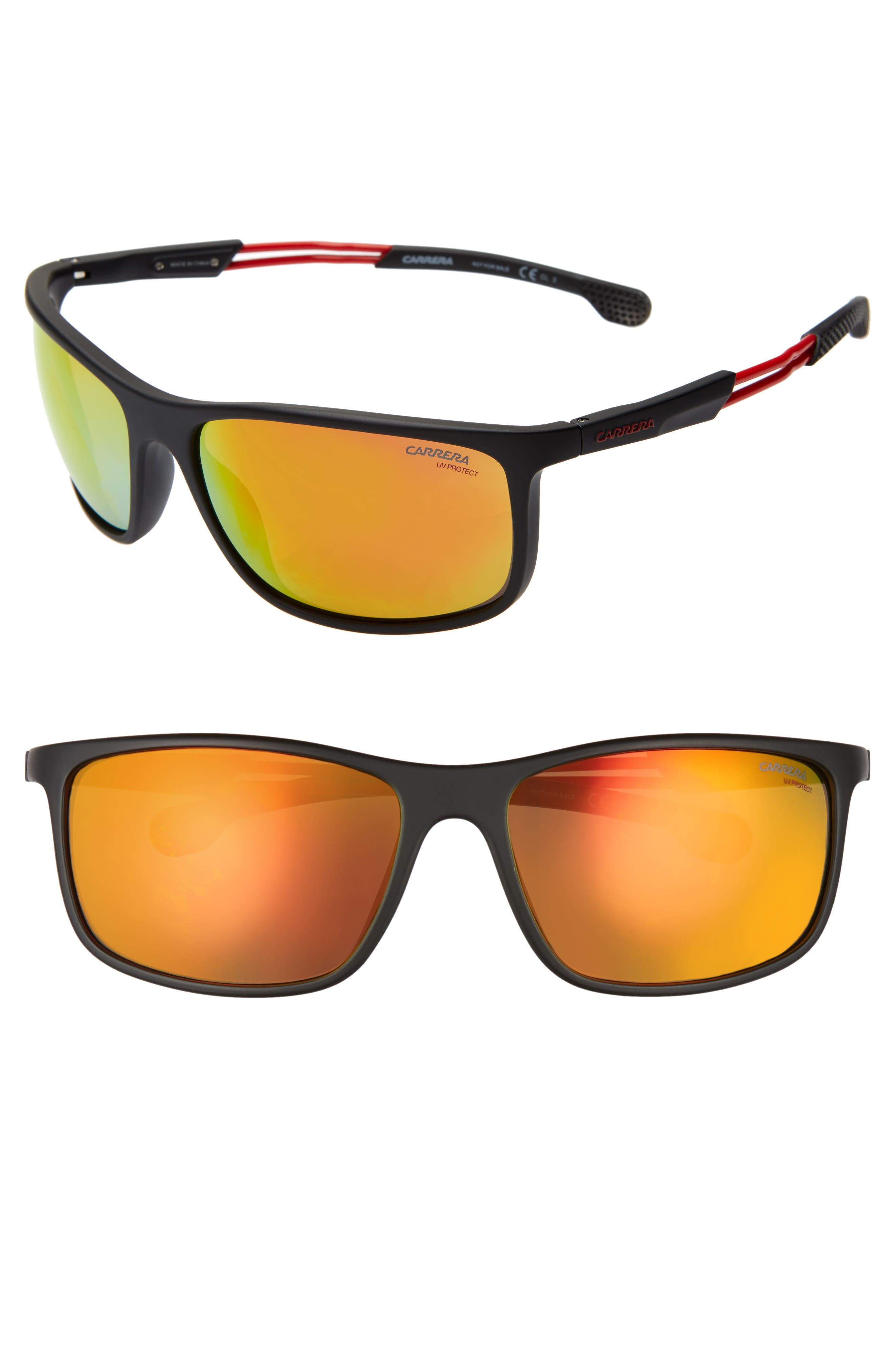 Carrera Eyewear 62Mm Wrap Sunglasses - Black/ Red Mirror
