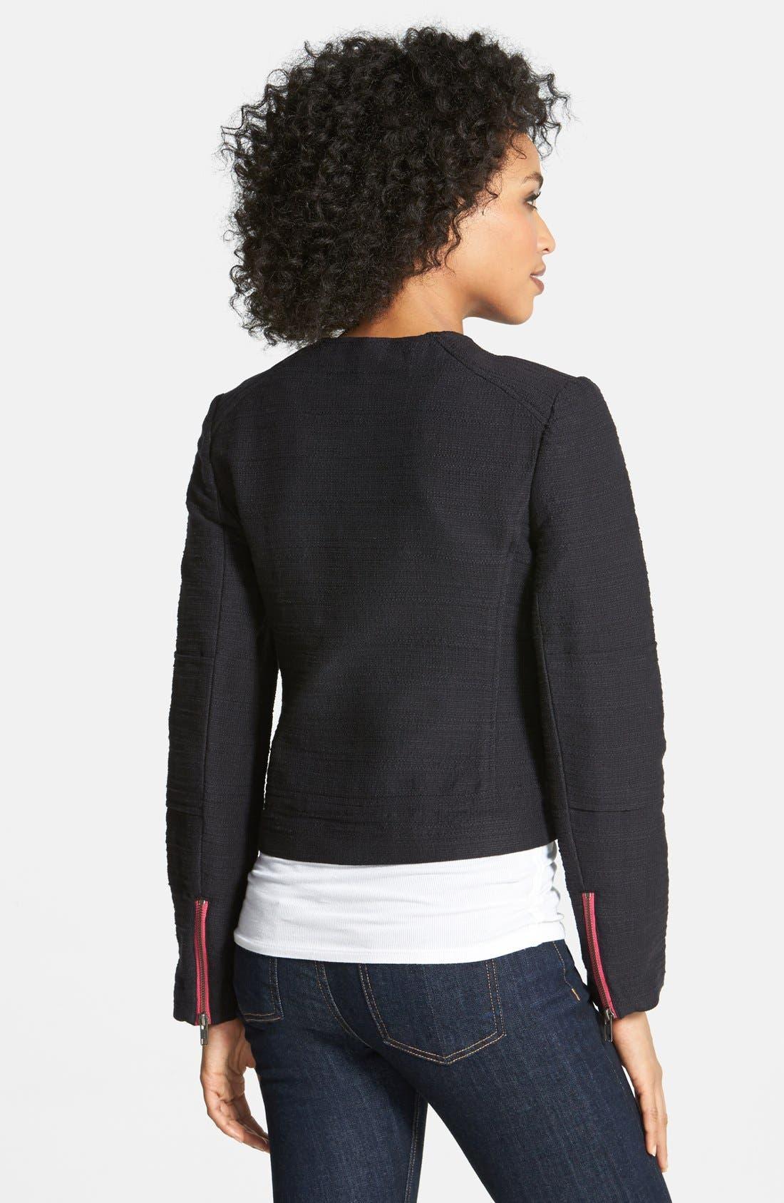 HALOGEN<SUP>®</SUP>,                             Cotton Moto Jacket,                             Alternate thumbnail 3, color,                             001