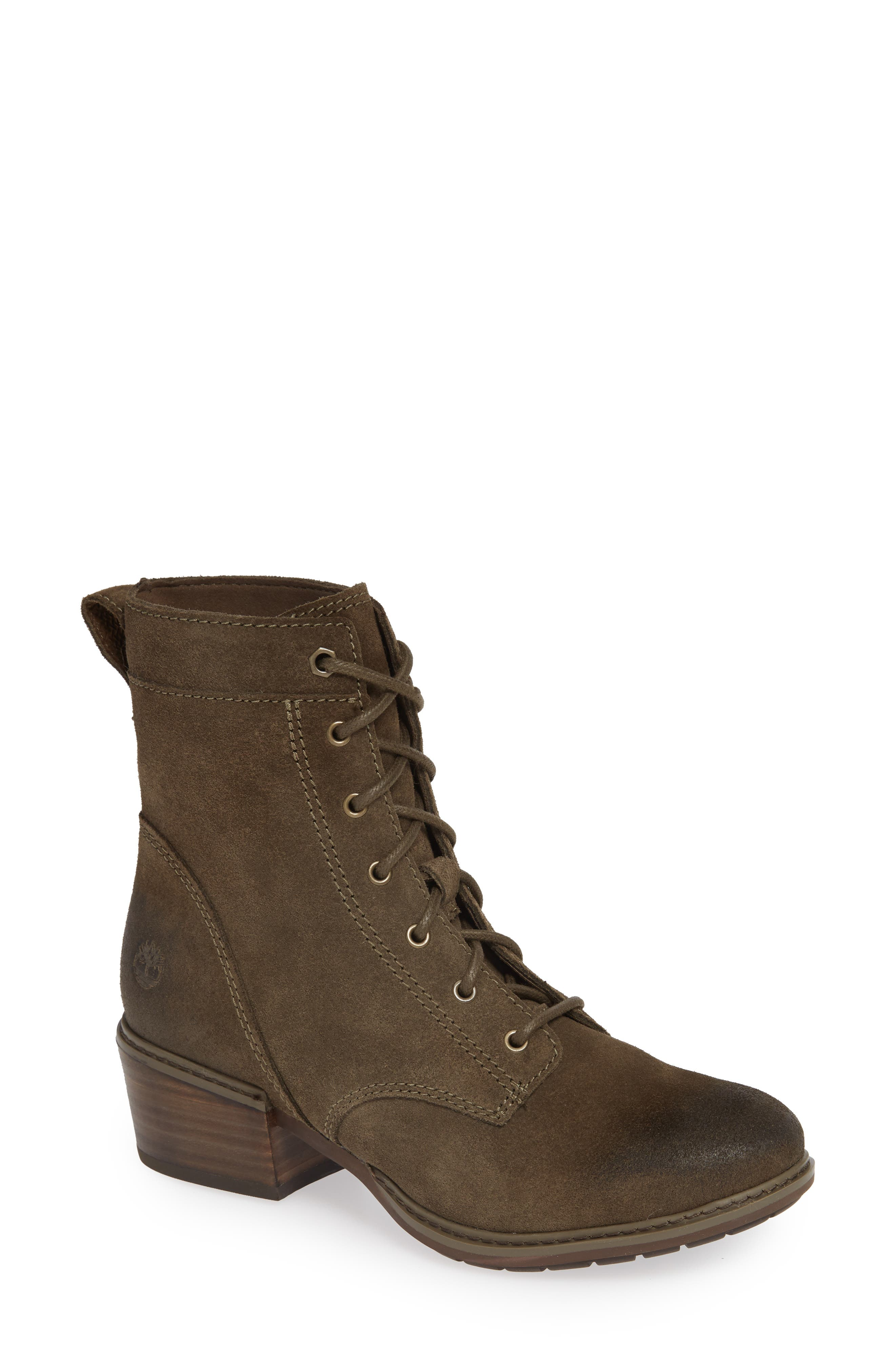 TIMBERLAND,                             Sutherlin Bay Water Resistant Lace-Up Bootie,                             Main thumbnail 1, color,                             CANTEEN SUEDE