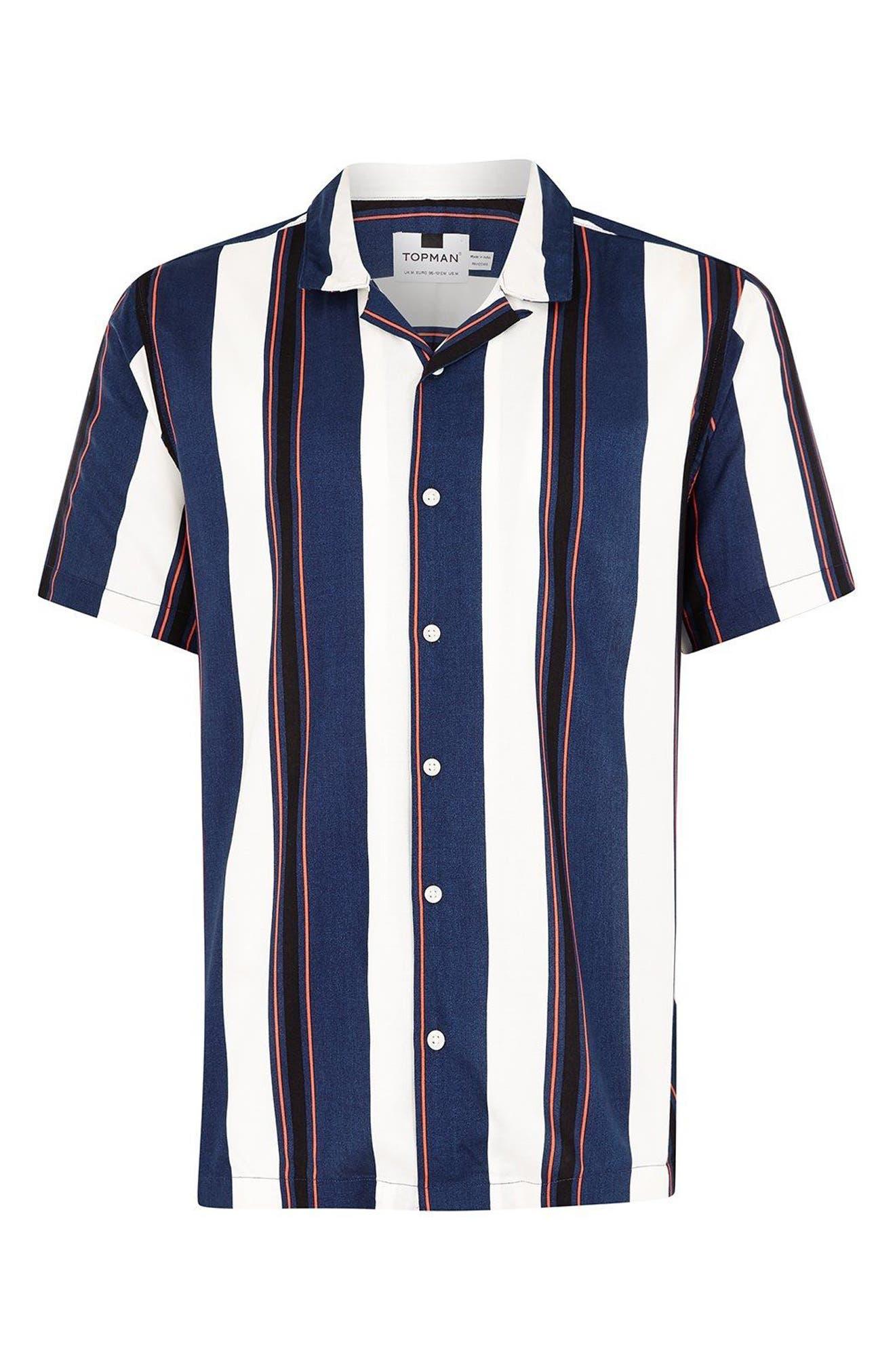 TOPMAN,                             Stripe Camp Shirt,                             Alternate thumbnail 4, color,                             410
