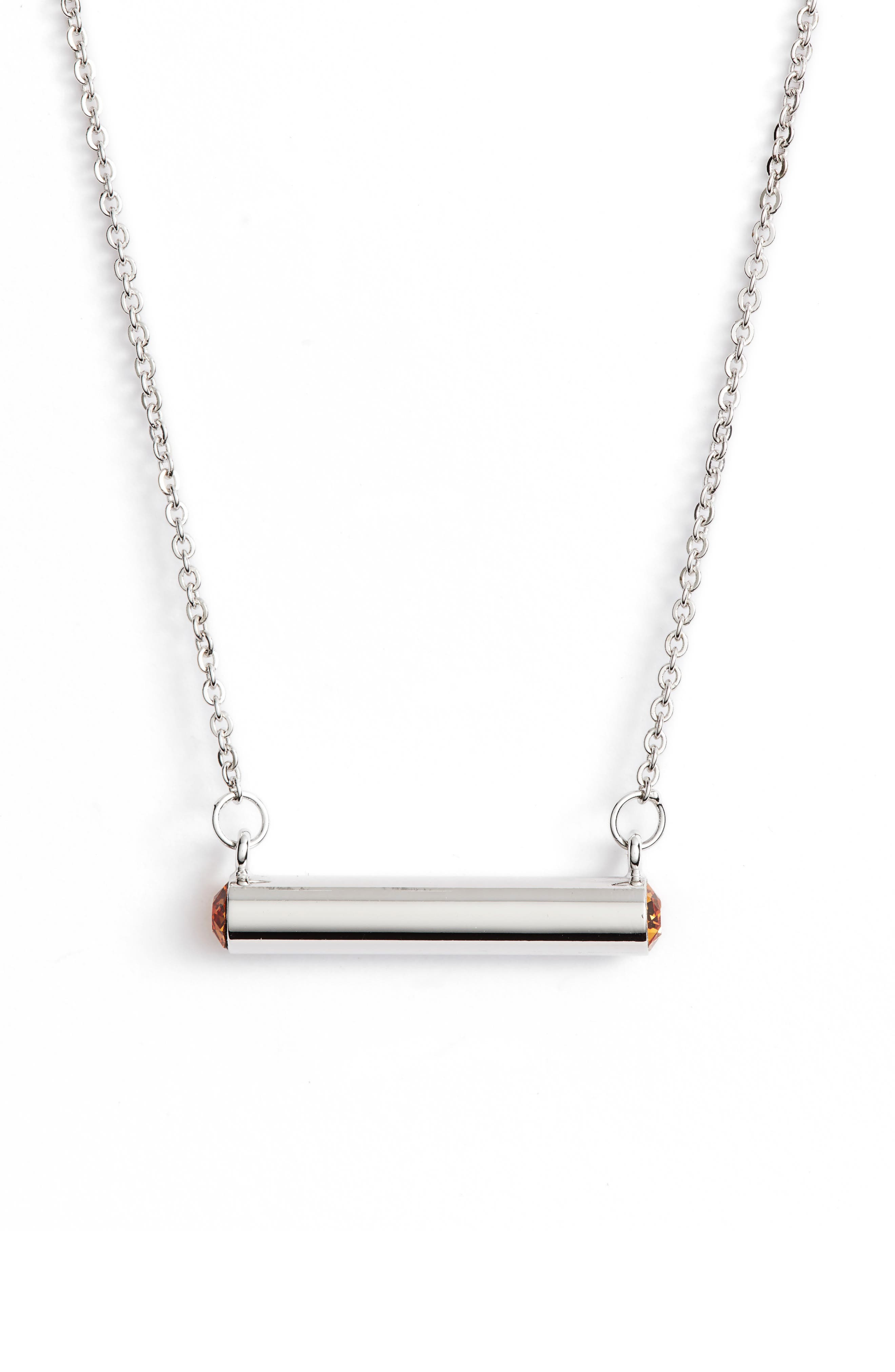 November Crystal Bar Pendant Necklace,                         Main,                         color,