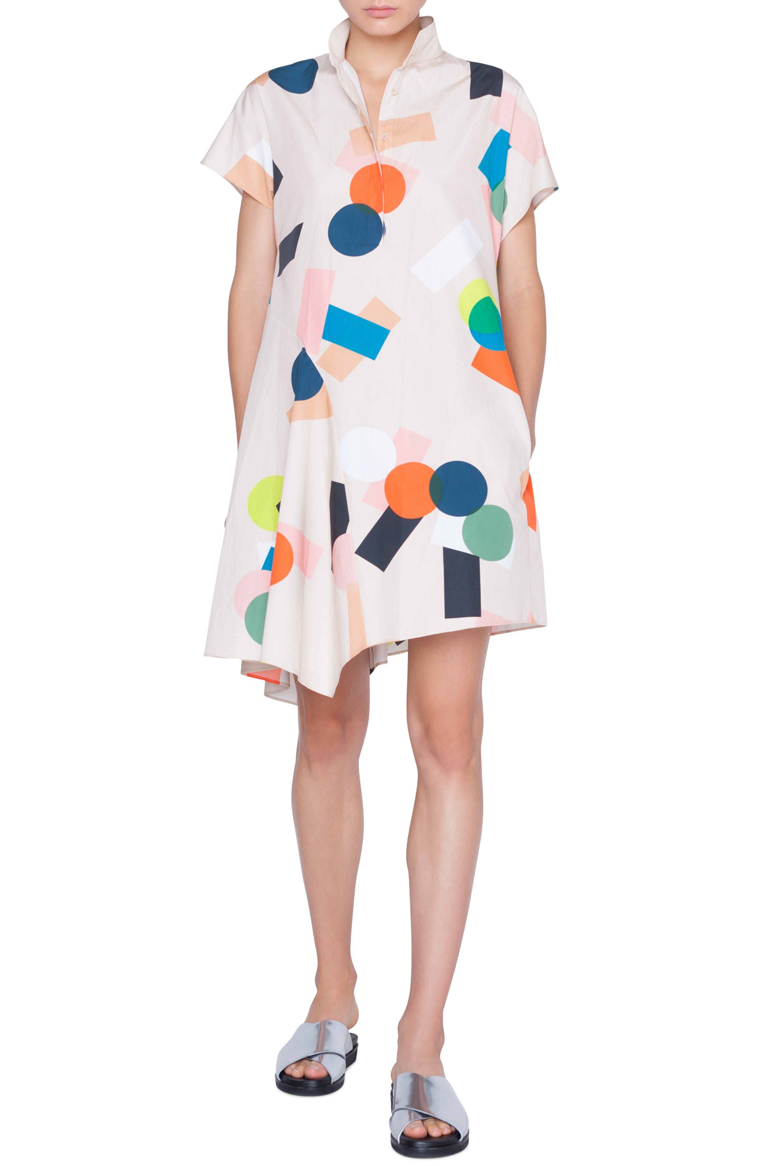 Akris Punto Memphis Bell Air Print Cotton Dress, Beige