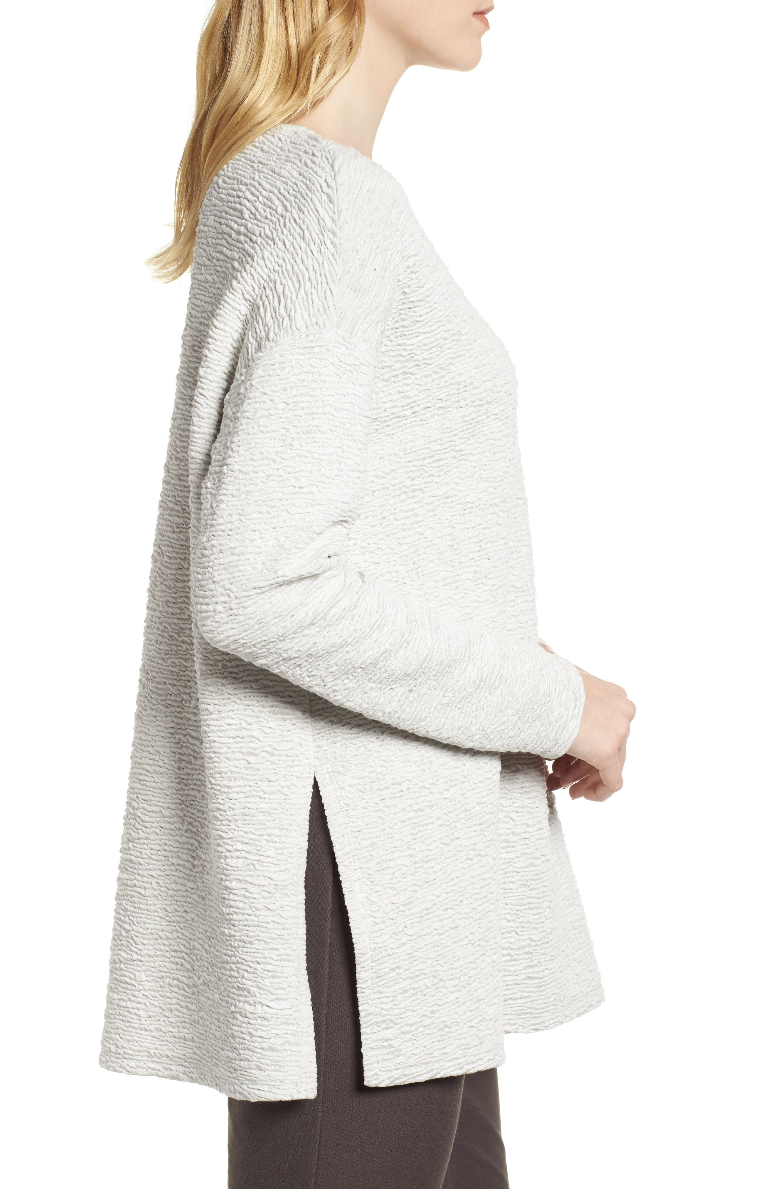 Textured Tencel<sup>®</sup> Lyocell Blend Top,                             Alternate thumbnail 3, color,                             100