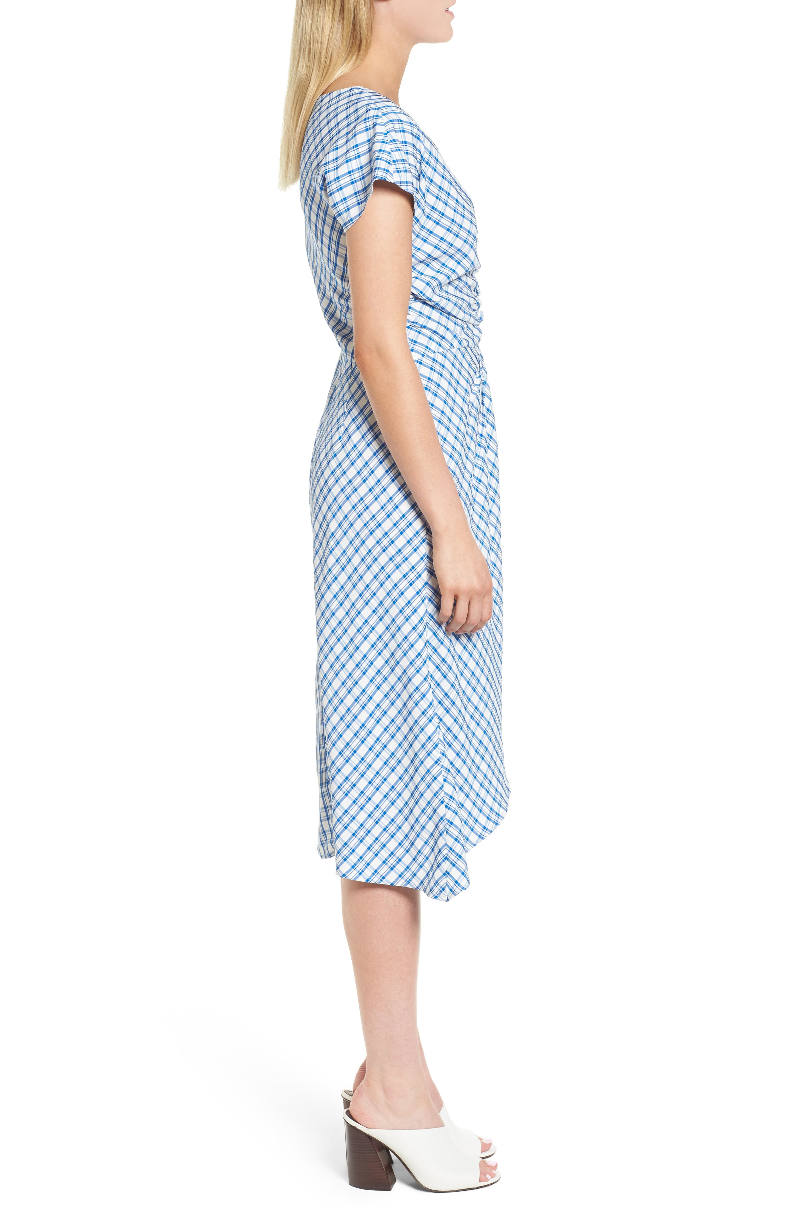 Ruched Check Midi Dress,                             Alternate thumbnail 3, color,                             420