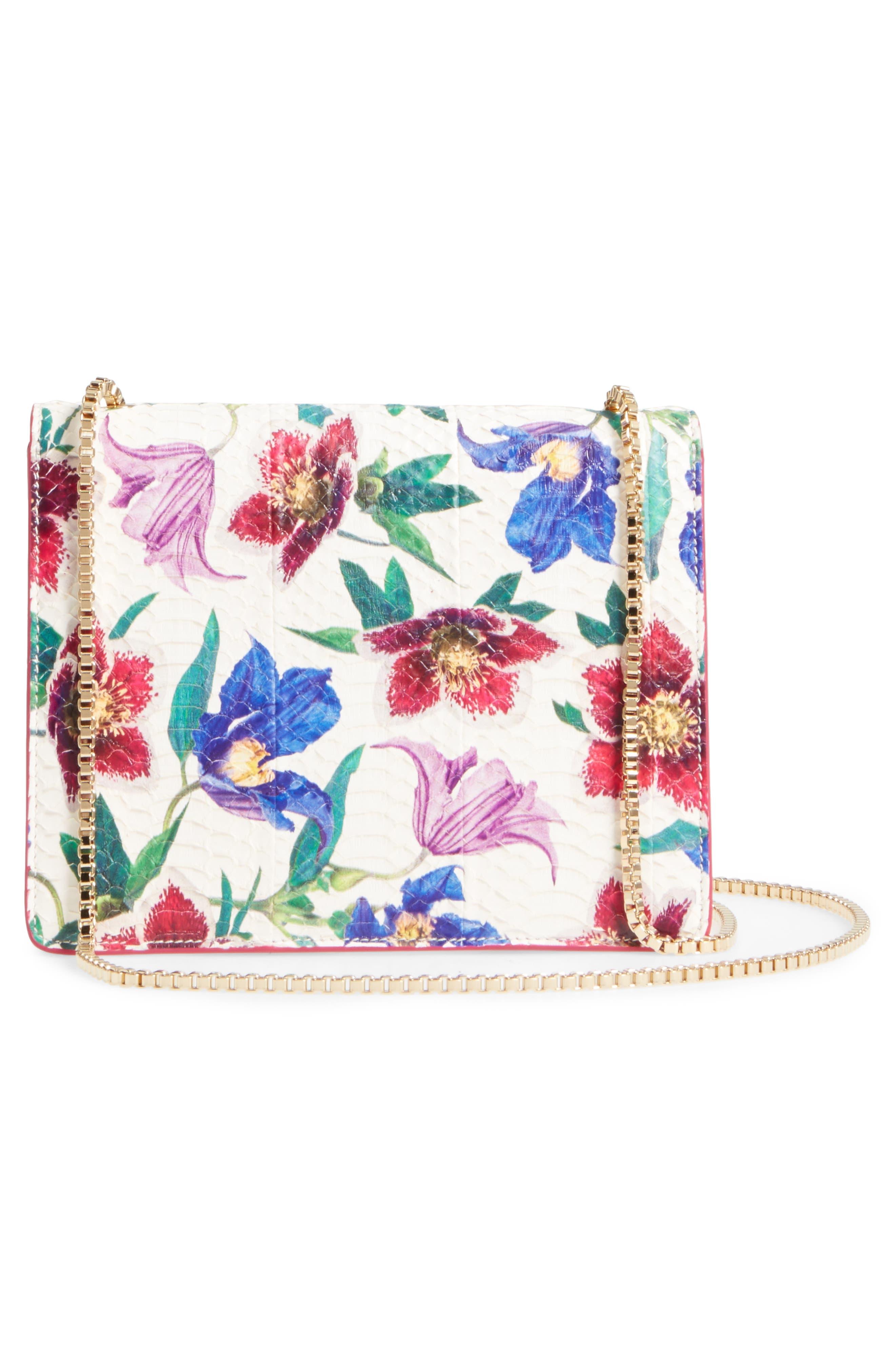Small Thalia Floral Print Genuine Snakeskin Shoulder Bag,                             Alternate thumbnail 3, color,                             376