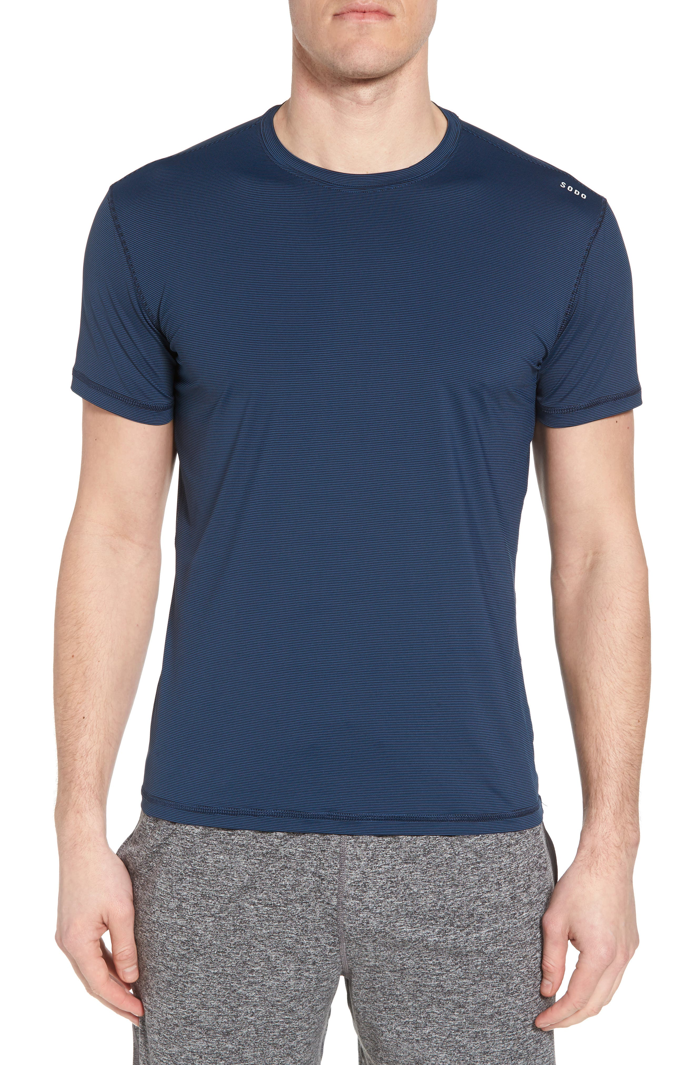 Lightweight Micro-Stripe Workout T-Shirt,                         Main,                         color, INDIGO BLUE/ BLACK