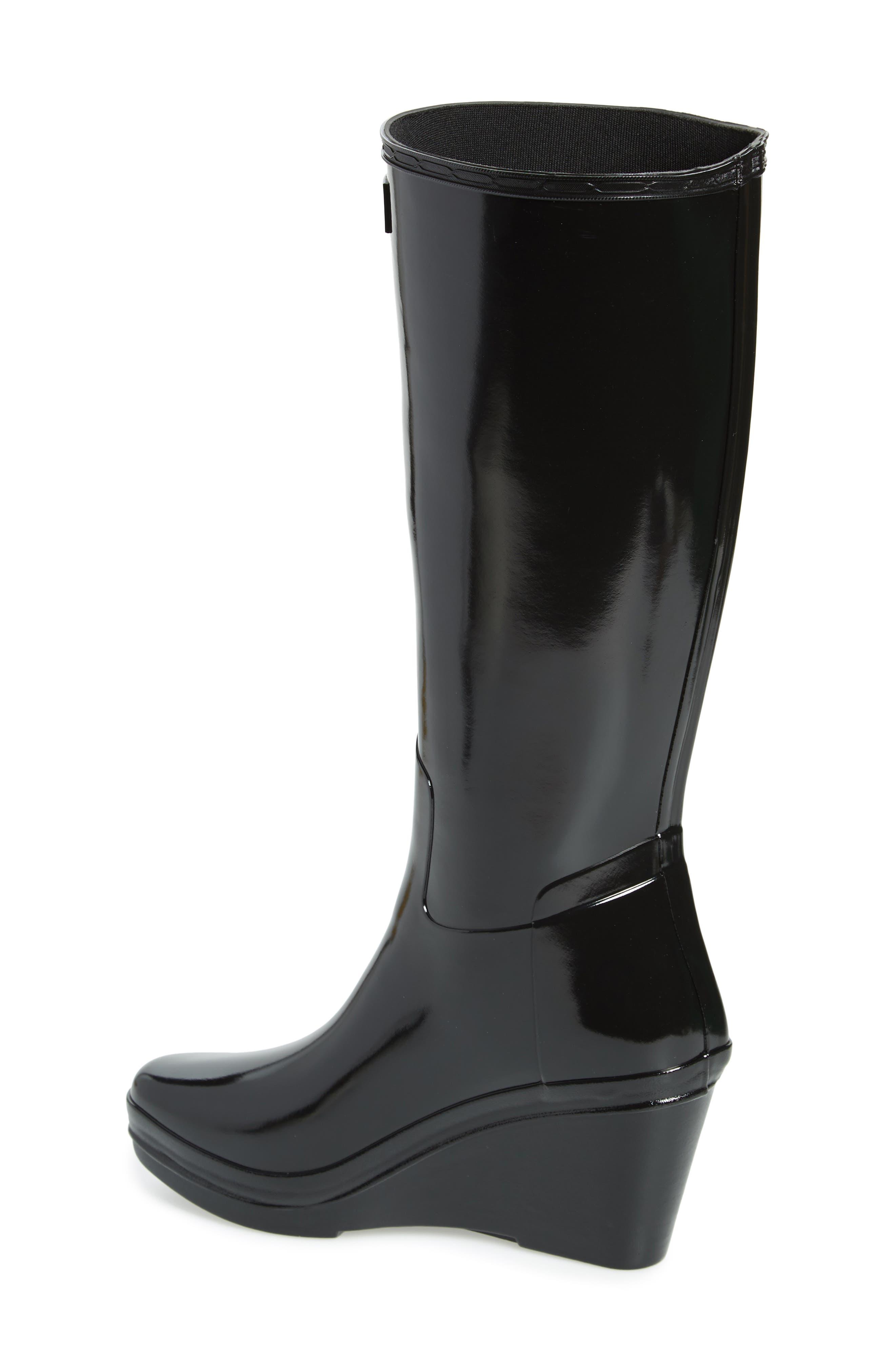 Refined Knee High Waterproof Rain Boot,                             Alternate thumbnail 2, color,                             BLACK