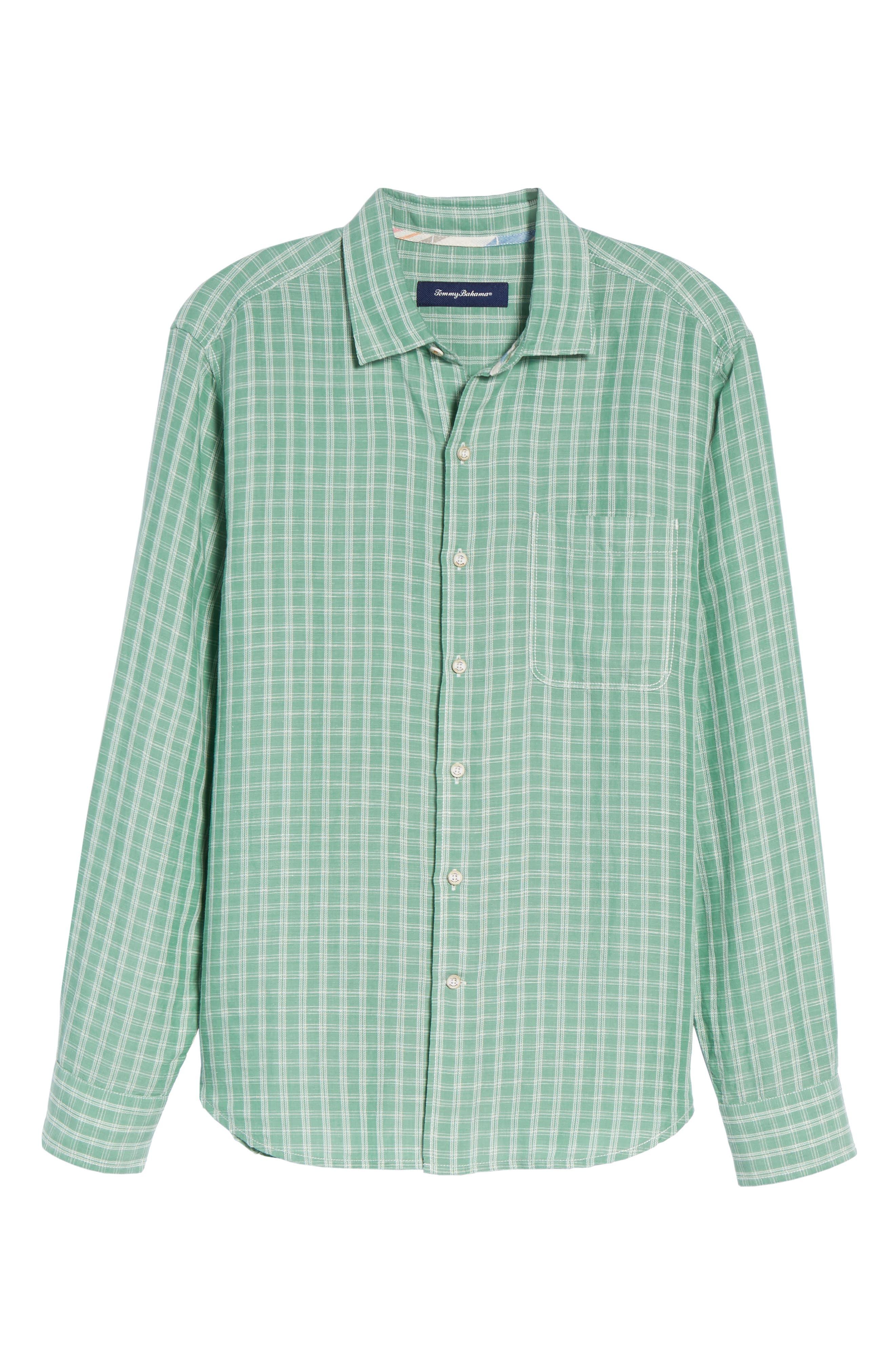 Plaid Sand Linen Blend Sport Shirt,                             Alternate thumbnail 16, color,