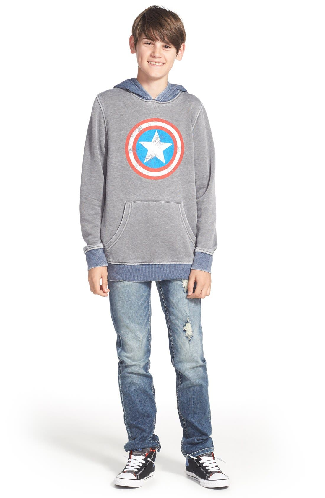 'Captain America - Star Shield' Graphic Hoodie,                             Alternate thumbnail 2, color,                             030