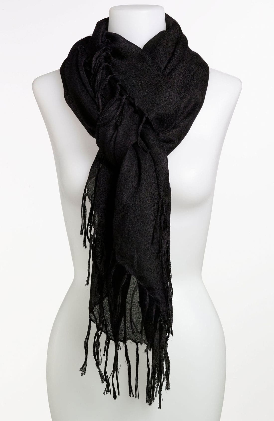 ECHO,                             'All Over Fringe' Scarf,                             Main thumbnail 1, color,                             001