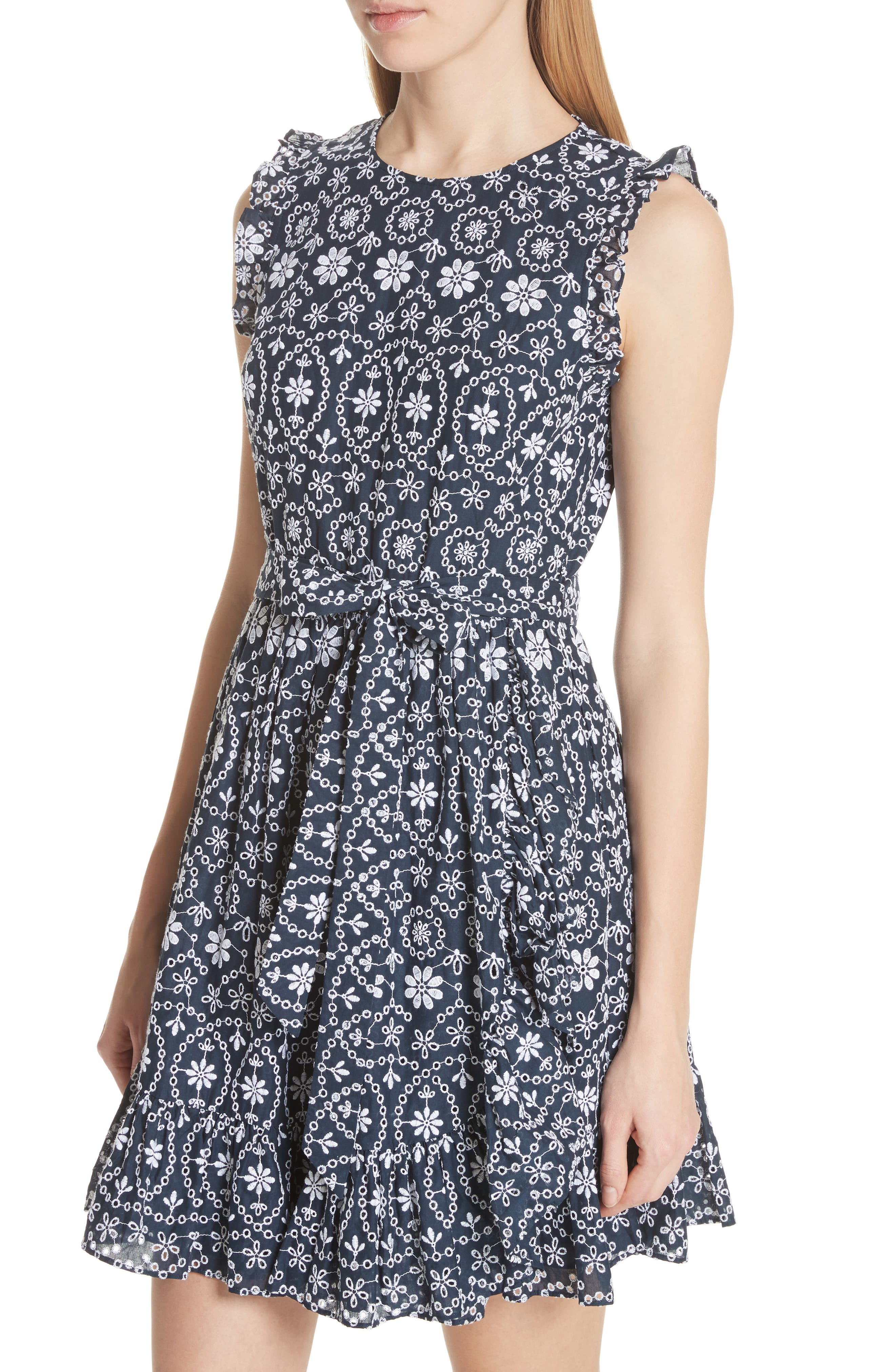 eyelet fit & flare dress,                             Alternate thumbnail 4, color,                             479