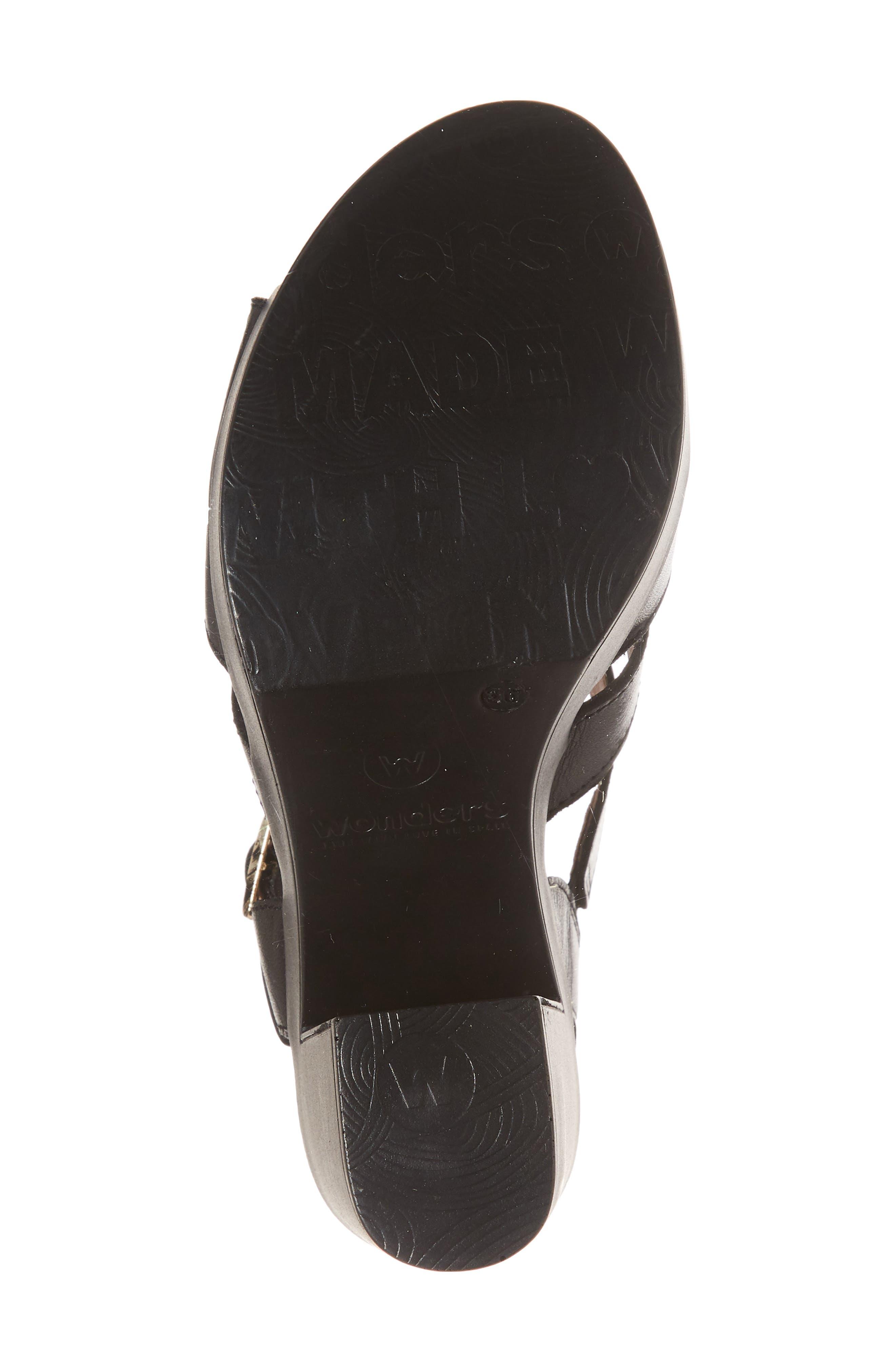 V-Strap Platform Sandal,                             Alternate thumbnail 6, color,                             BLACK LEATHER
