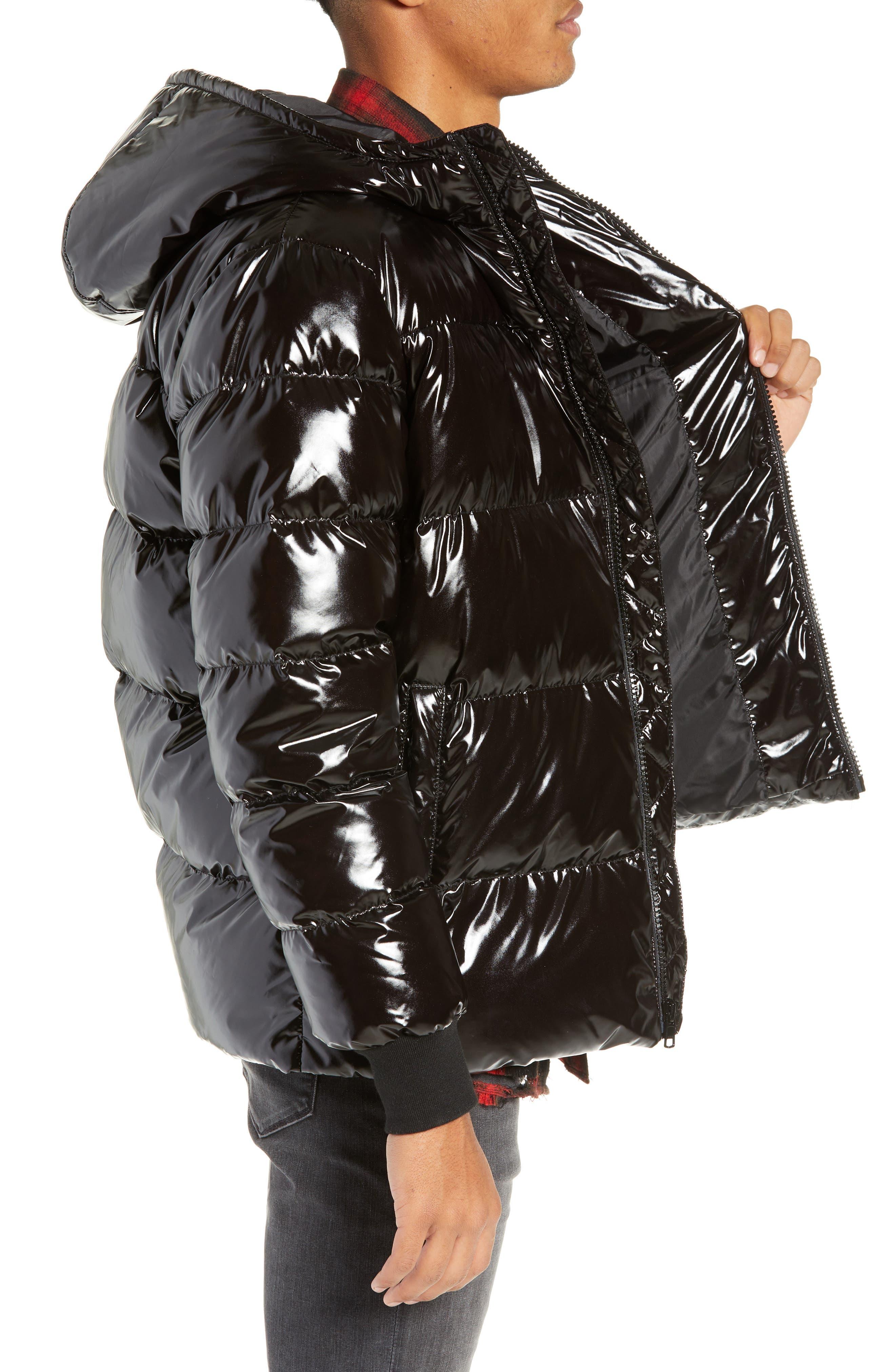 Hooded Puffer Jacket,                             Alternate thumbnail 3, color,                             BLACK ROCK