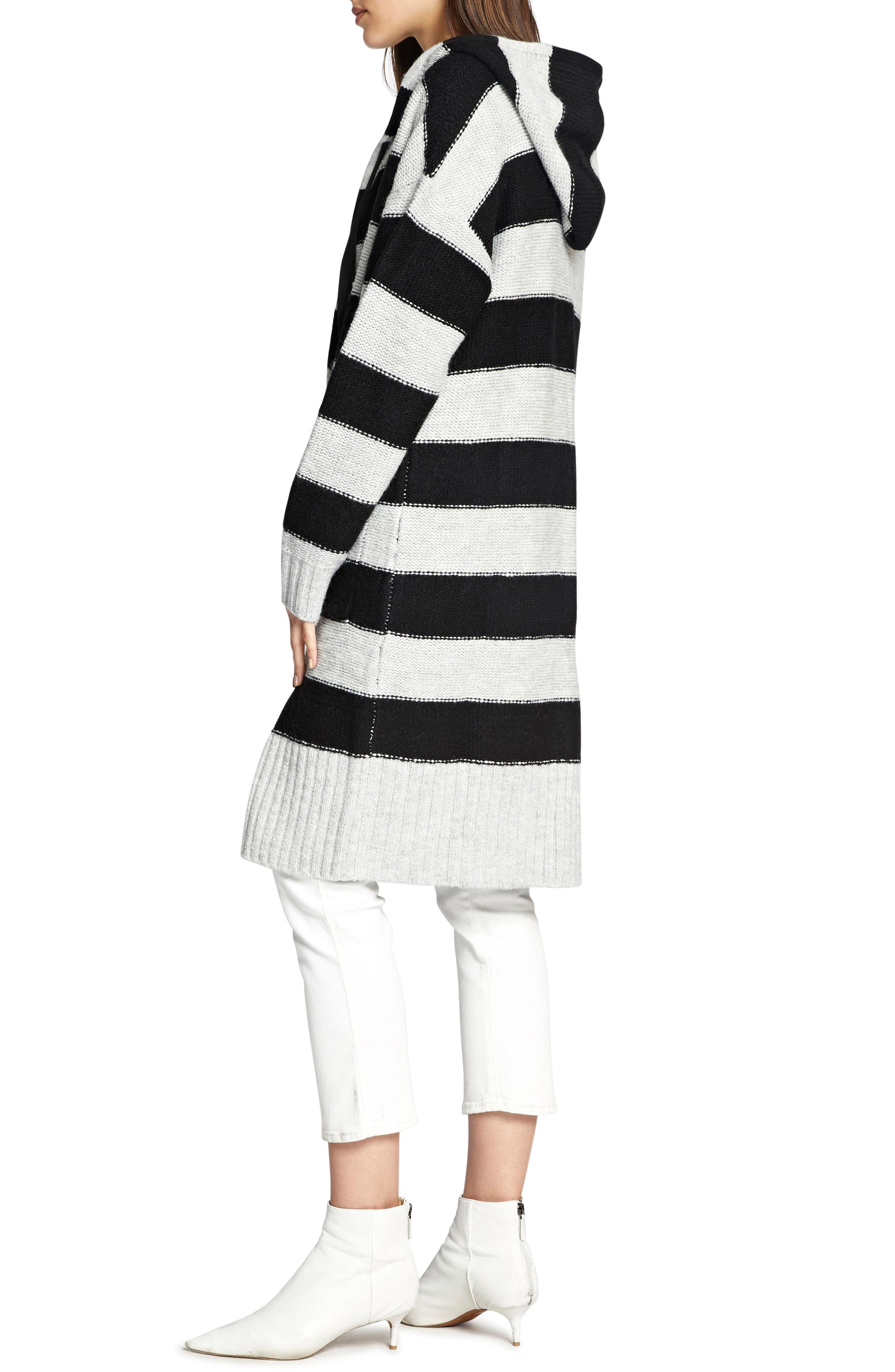 SANCTUARY,                             Rugby Long Hooded Cardigan,                             Alternate thumbnail 3, color,                             HEATHER STERLING/ BLACK