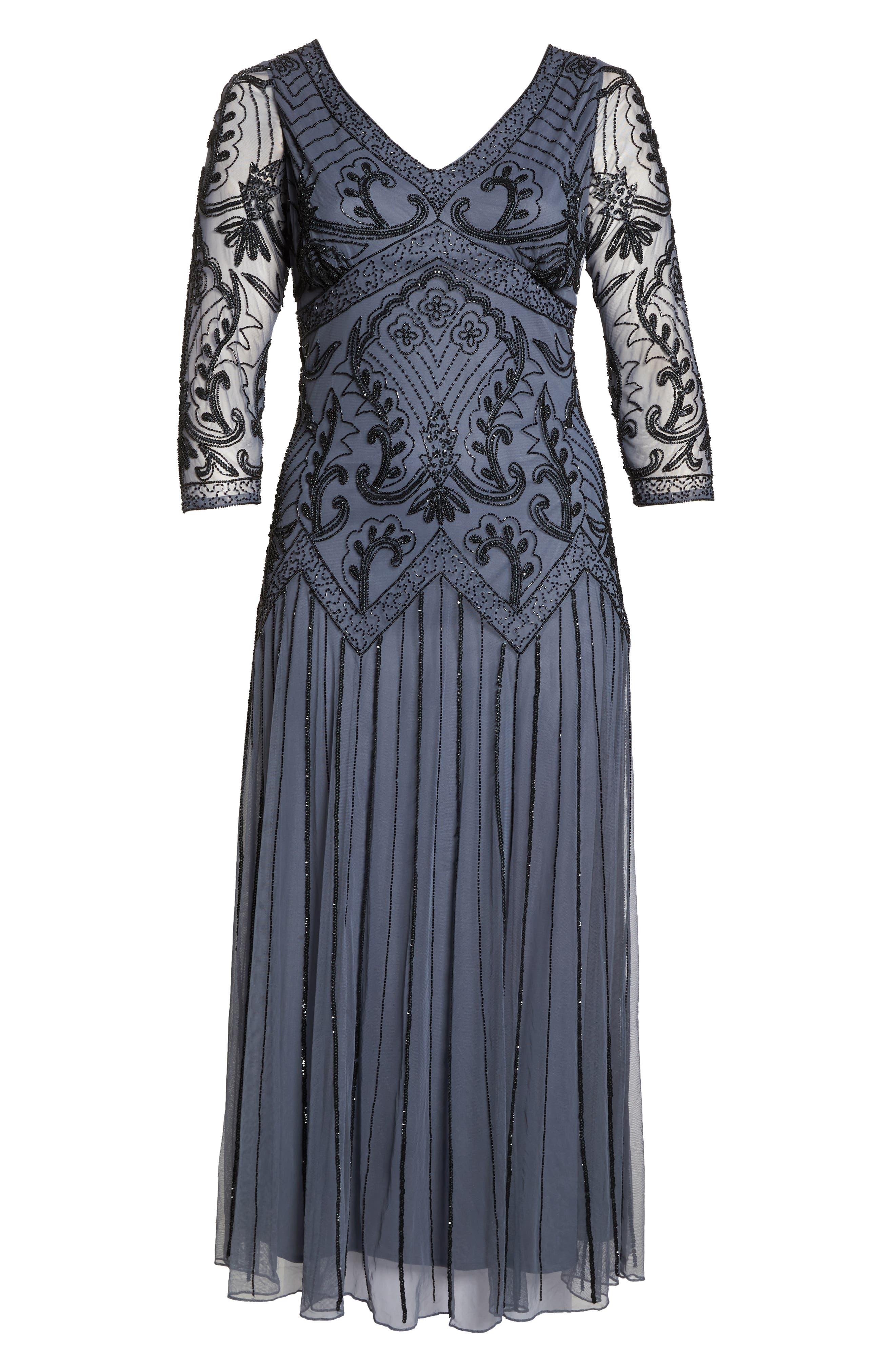 Embellished Double V-Neck Long Dress,                             Alternate thumbnail 7, color,                             GREY/ SILVER