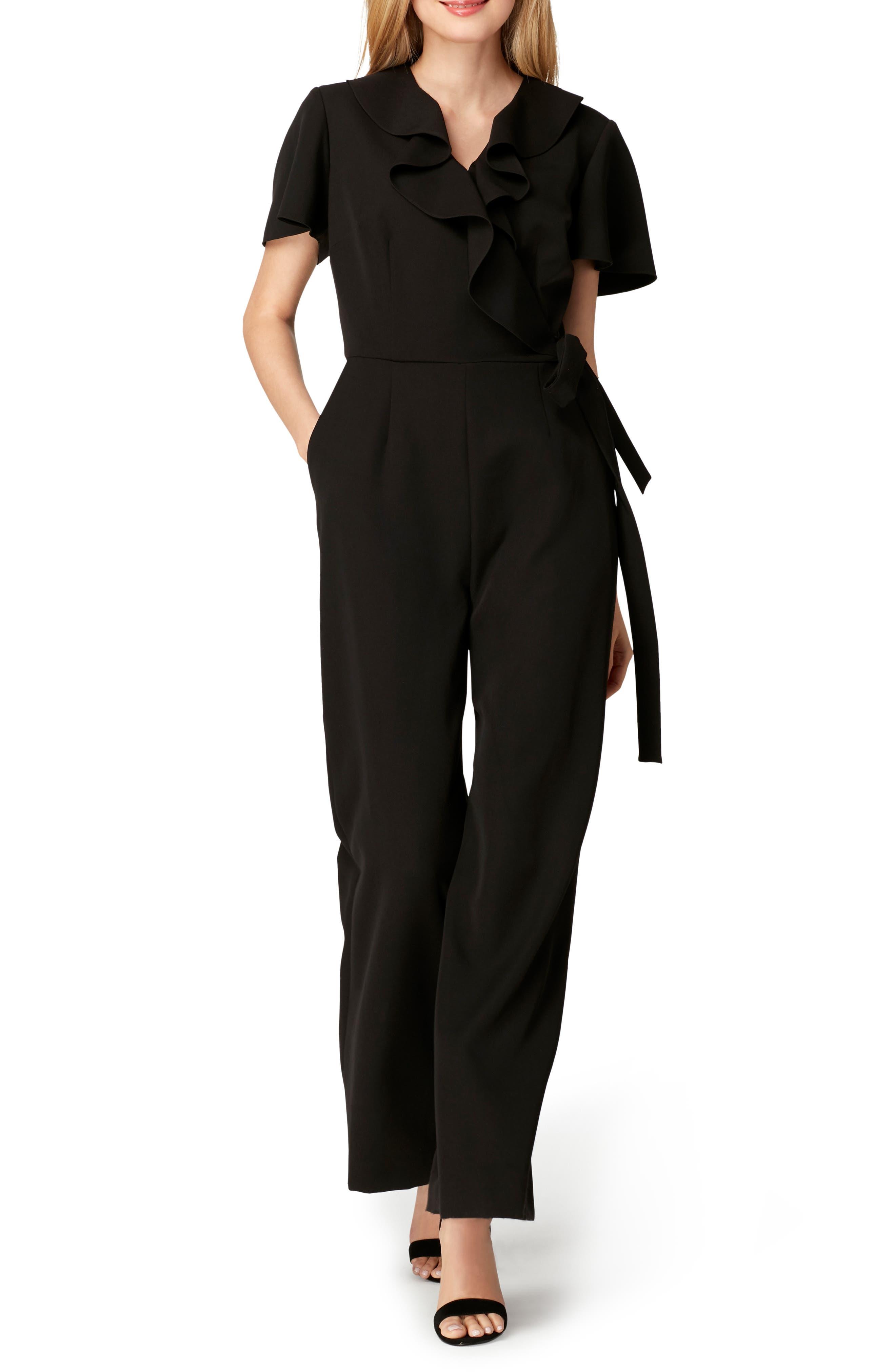 Ruffle Neck Crepe Jumpsuit,                         Main,                         color, 001