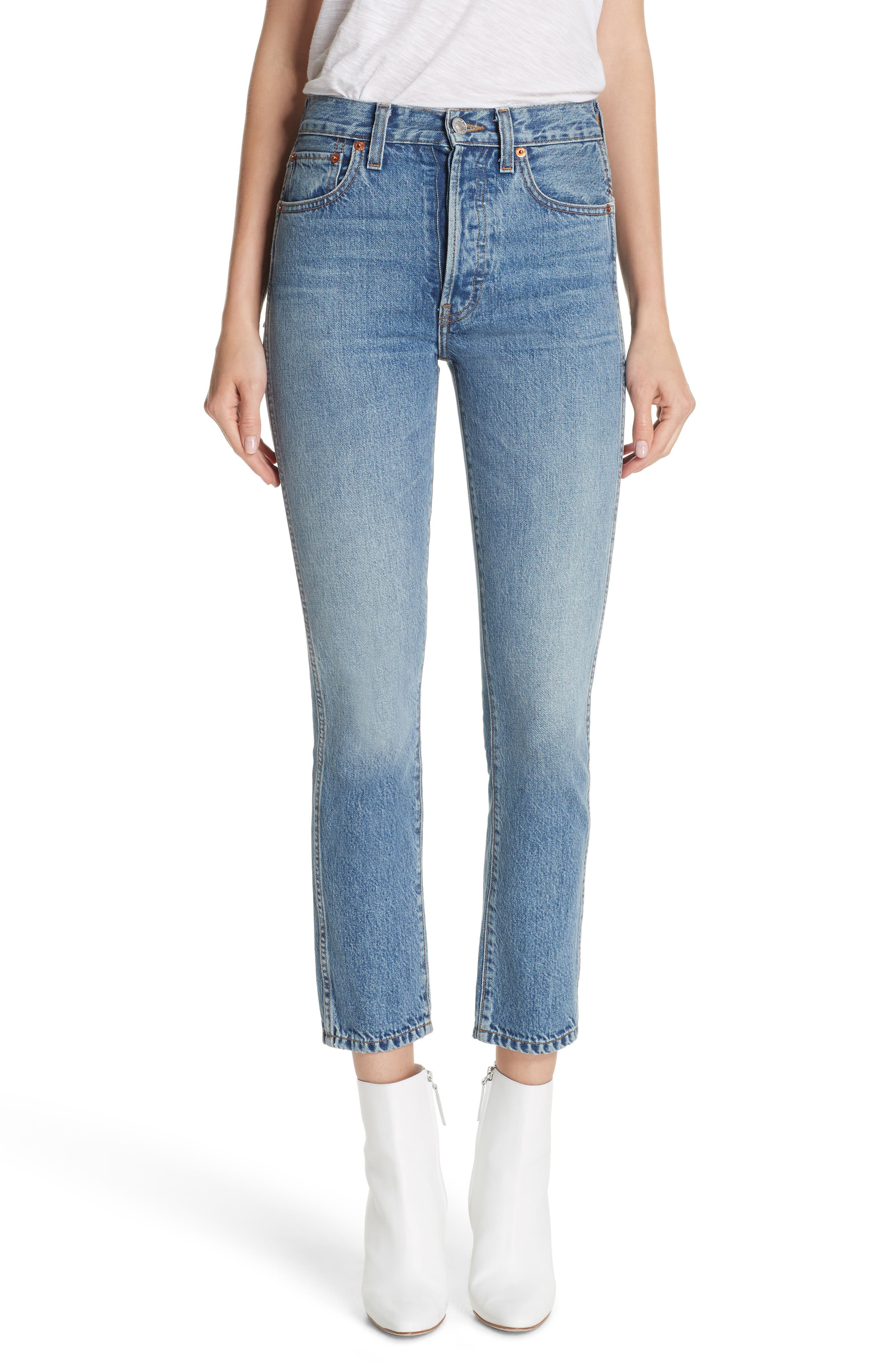 Originals High Waist Double Needle Ankle Jeans,                         Main,                         color, 400