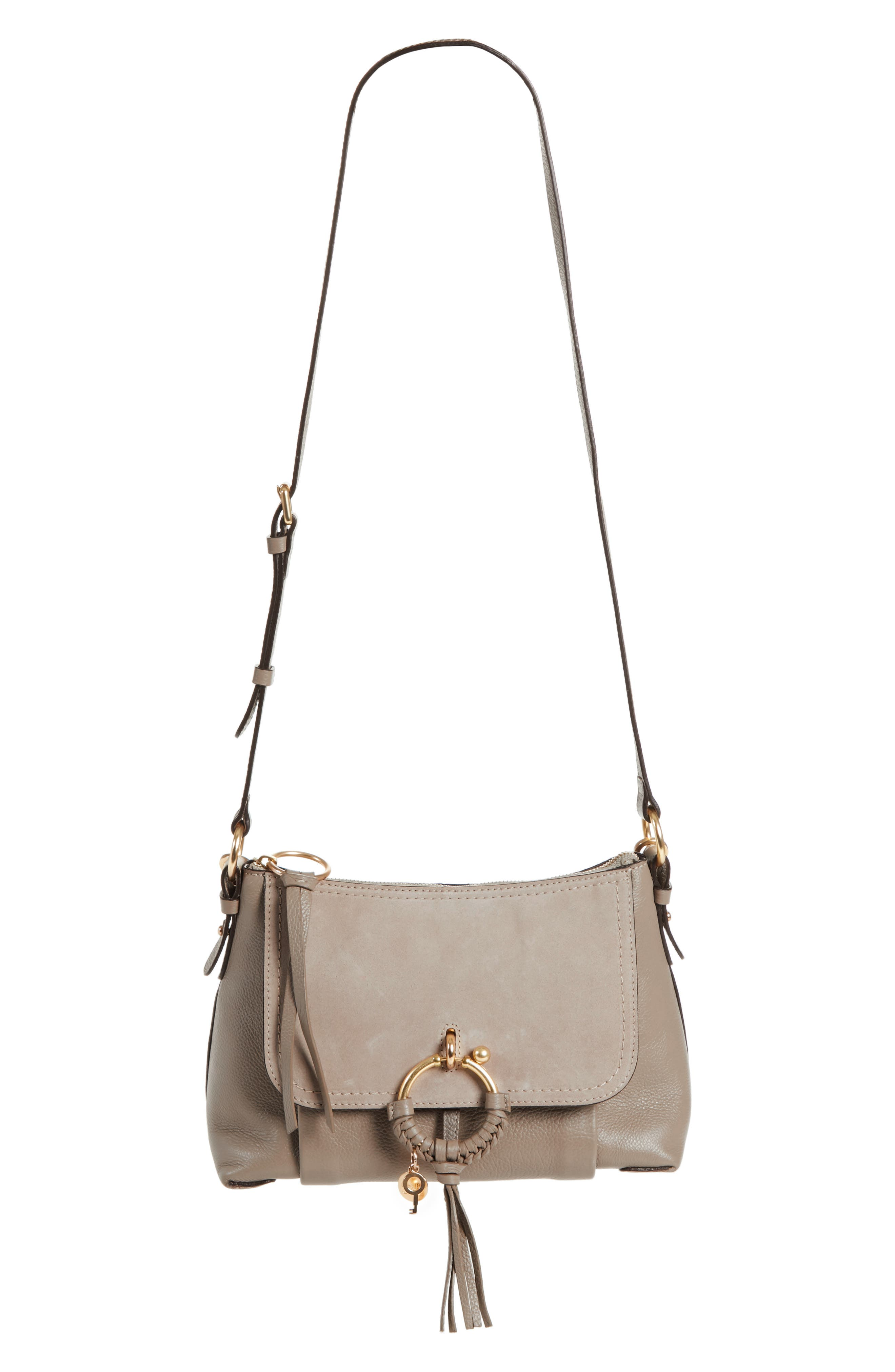 Small Joan Suede & Leather Crossbody Bag,                             Main thumbnail 1, color,                             MOTTY GREY