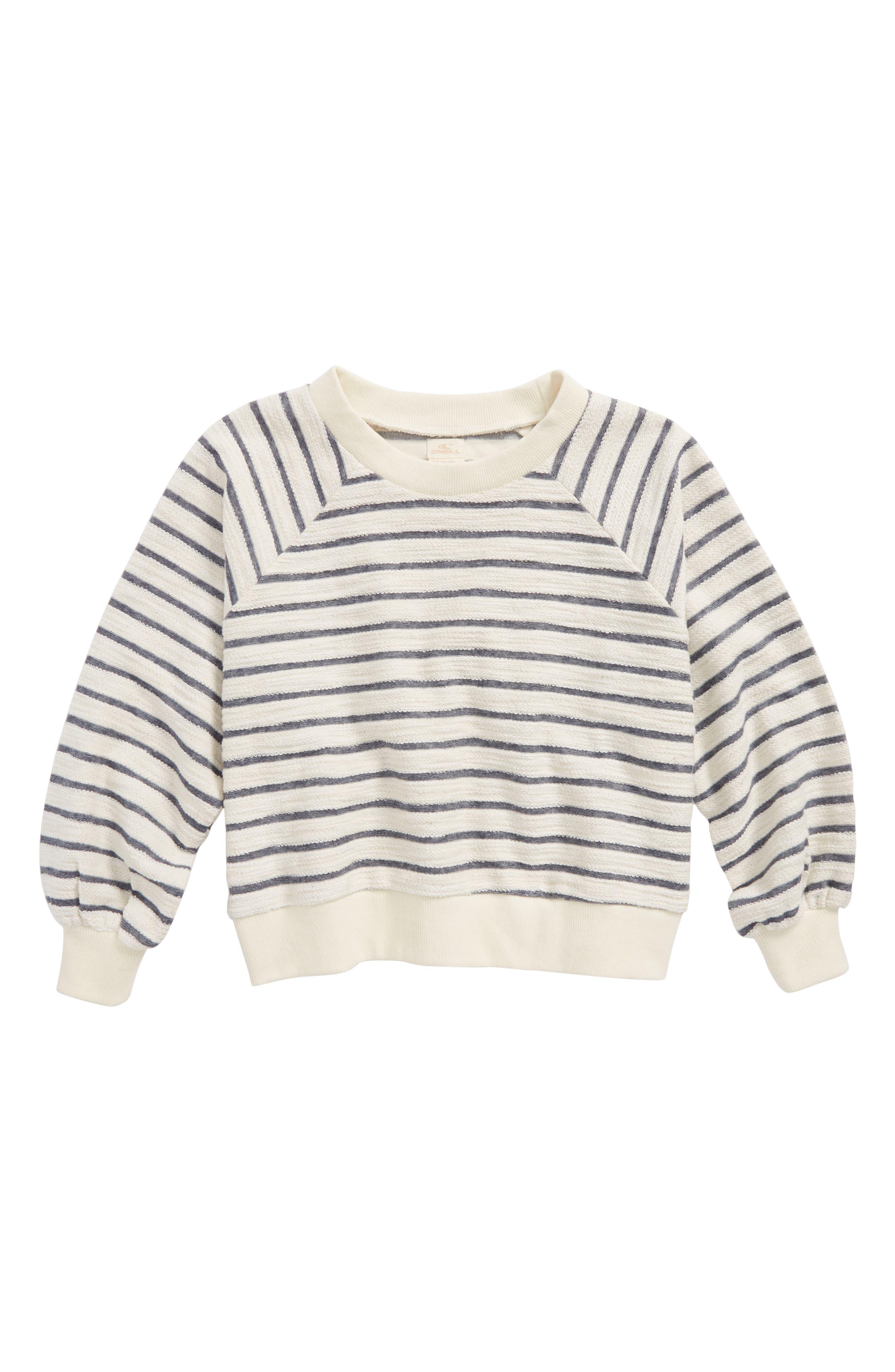 Sleep In Stripe Sweatshirt,                         Main,                         color, WHITE/ BLK STRIPE