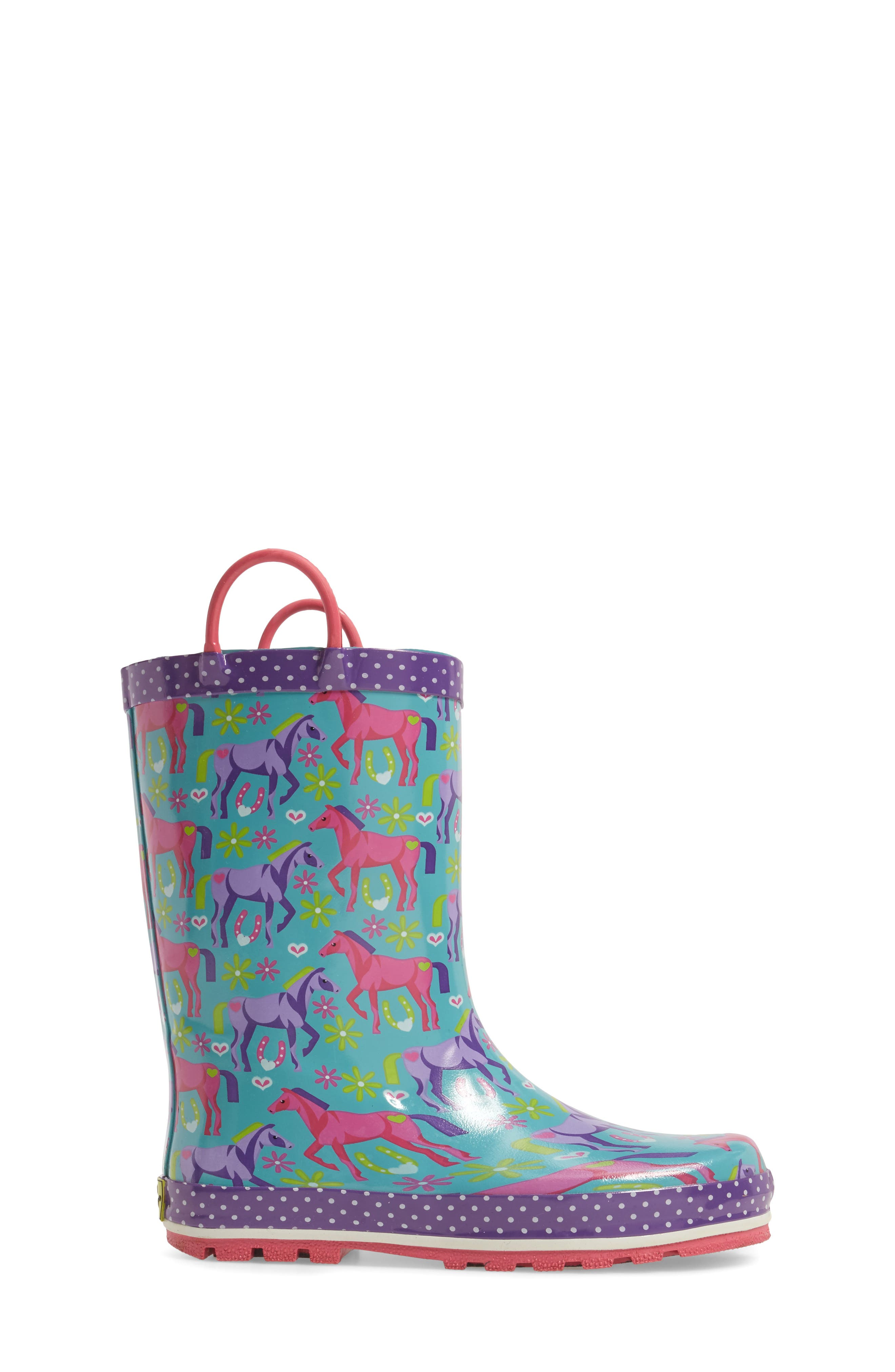 Hannah Horse Rain Boot,                             Alternate thumbnail 3, color,                             442