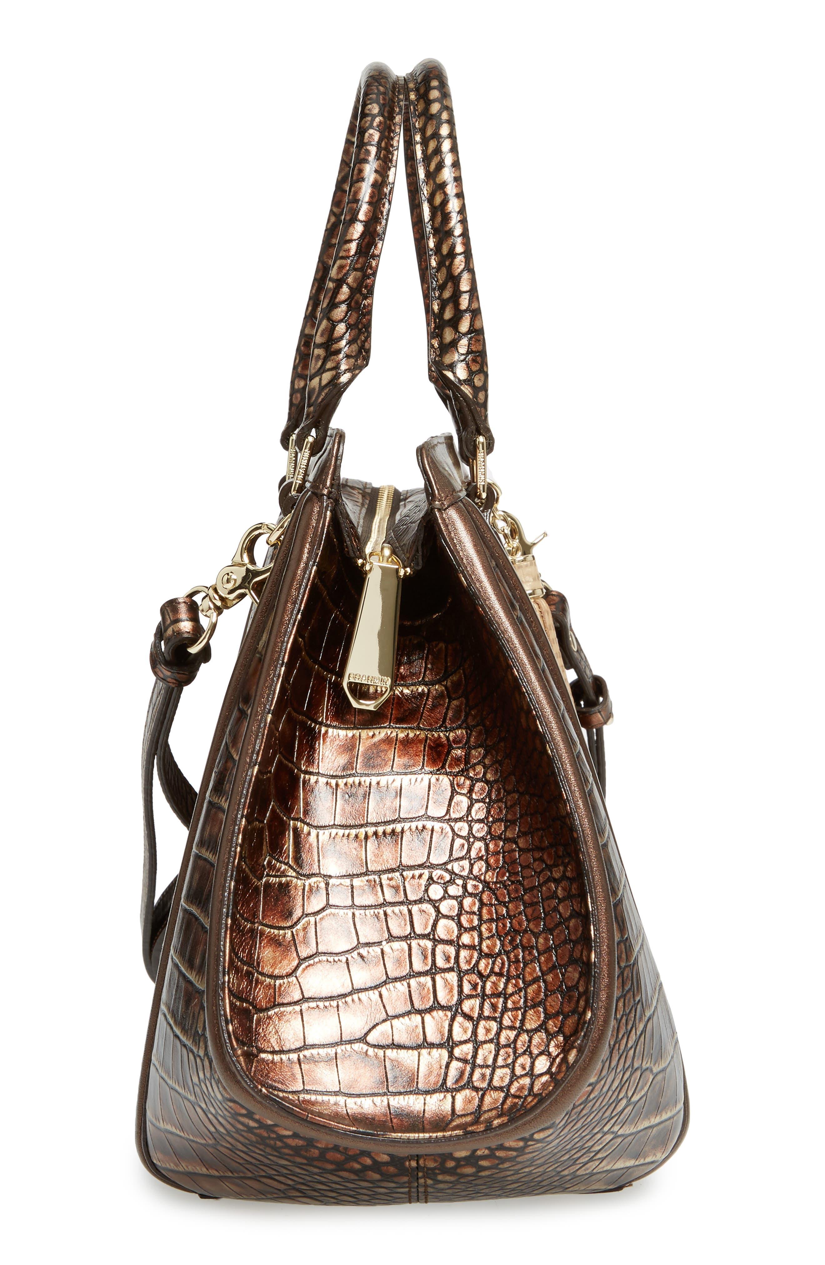 Milan Arden Embossed Leather Satchel,                             Alternate thumbnail 5, color,                             200