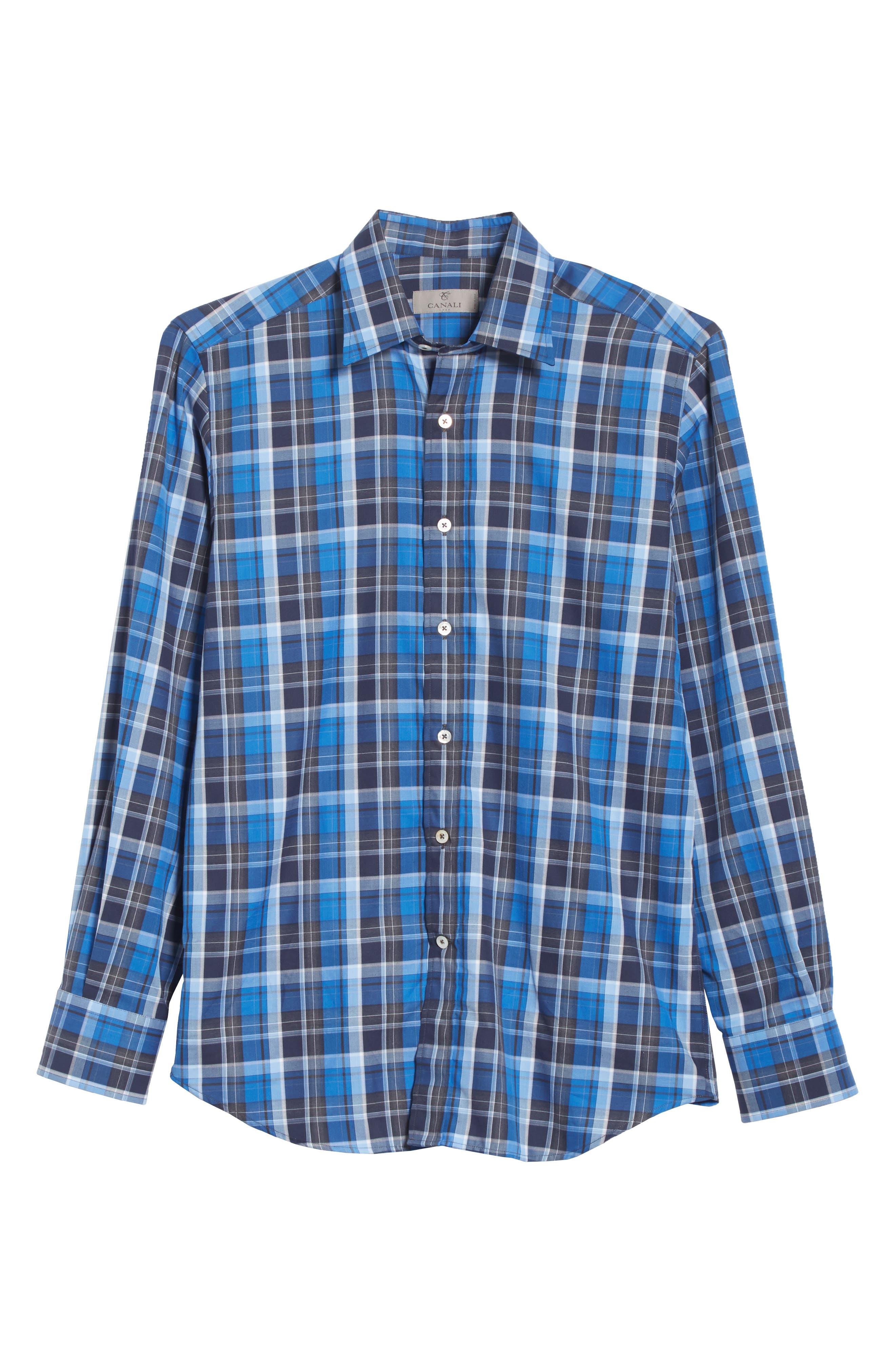 Regular Fit Plaid Sport Shirt,                             Alternate thumbnail 6, color,
