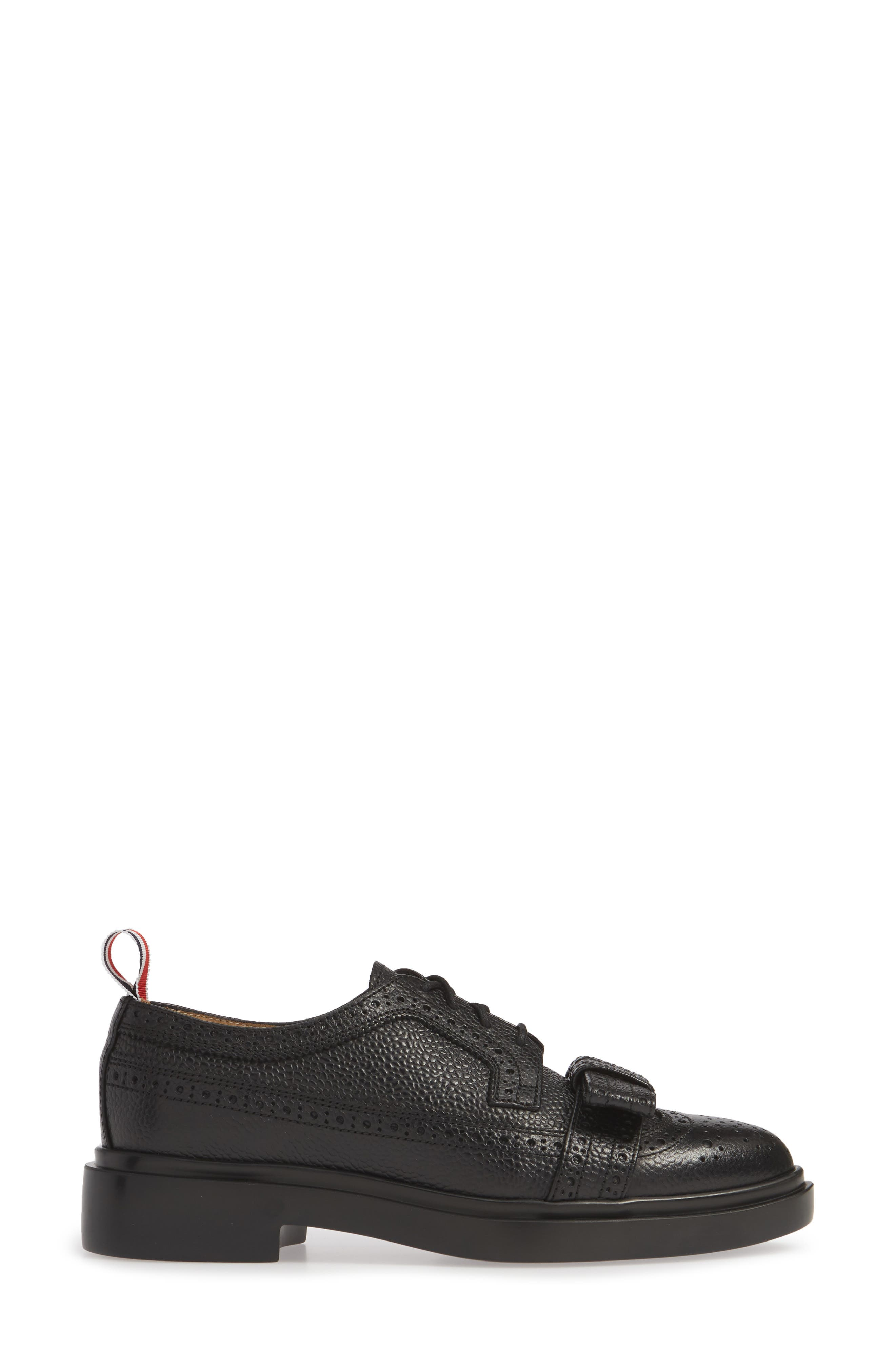 Bow Brogued Oxford,                             Alternate thumbnail 3, color,                             BLACK
