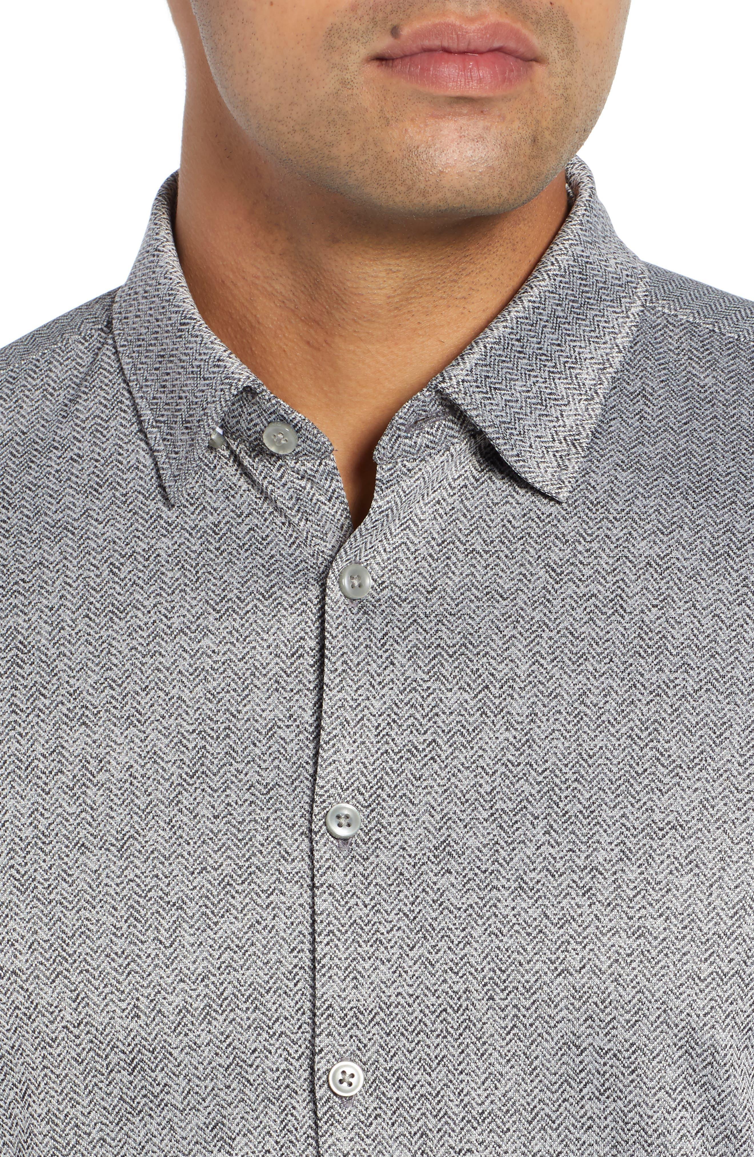 Trim Fit Knit Sport Shirt,                             Alternate thumbnail 2, color,                             BLACK